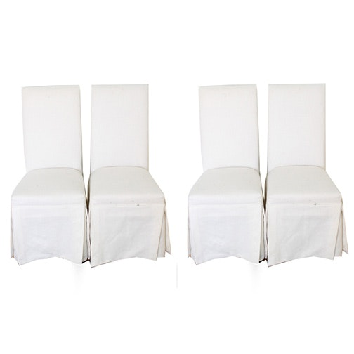 Set of Slip-Covered Dining Chairs