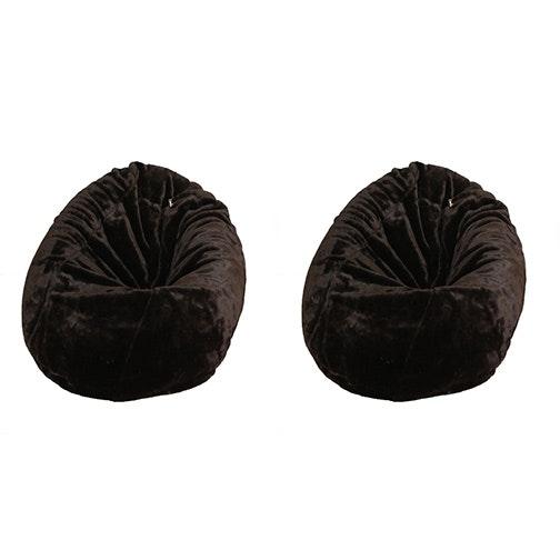 Pair of Brown Faux-Fur Beanbag Chairs