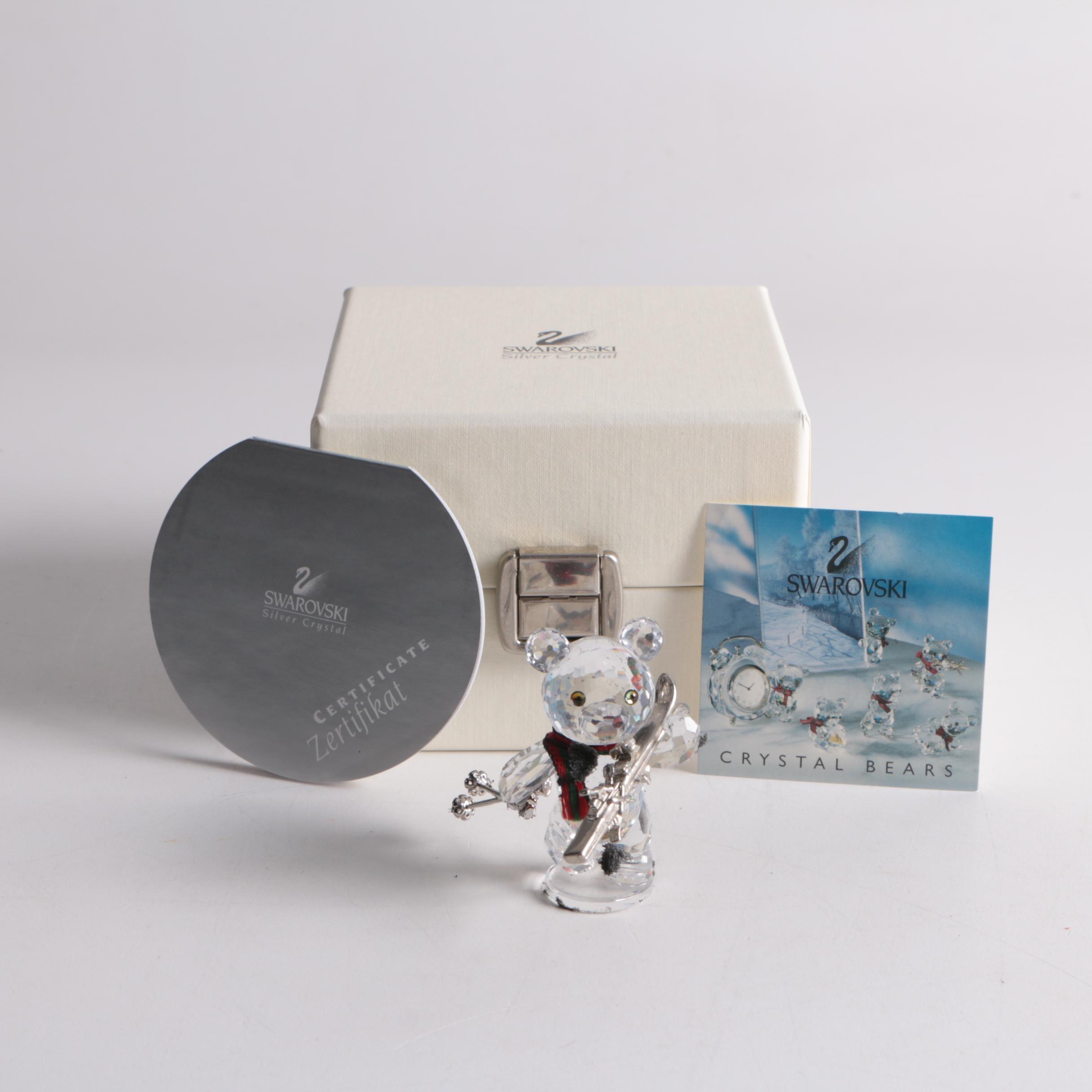 Swarovski Crystal Skiing Bear Figurine