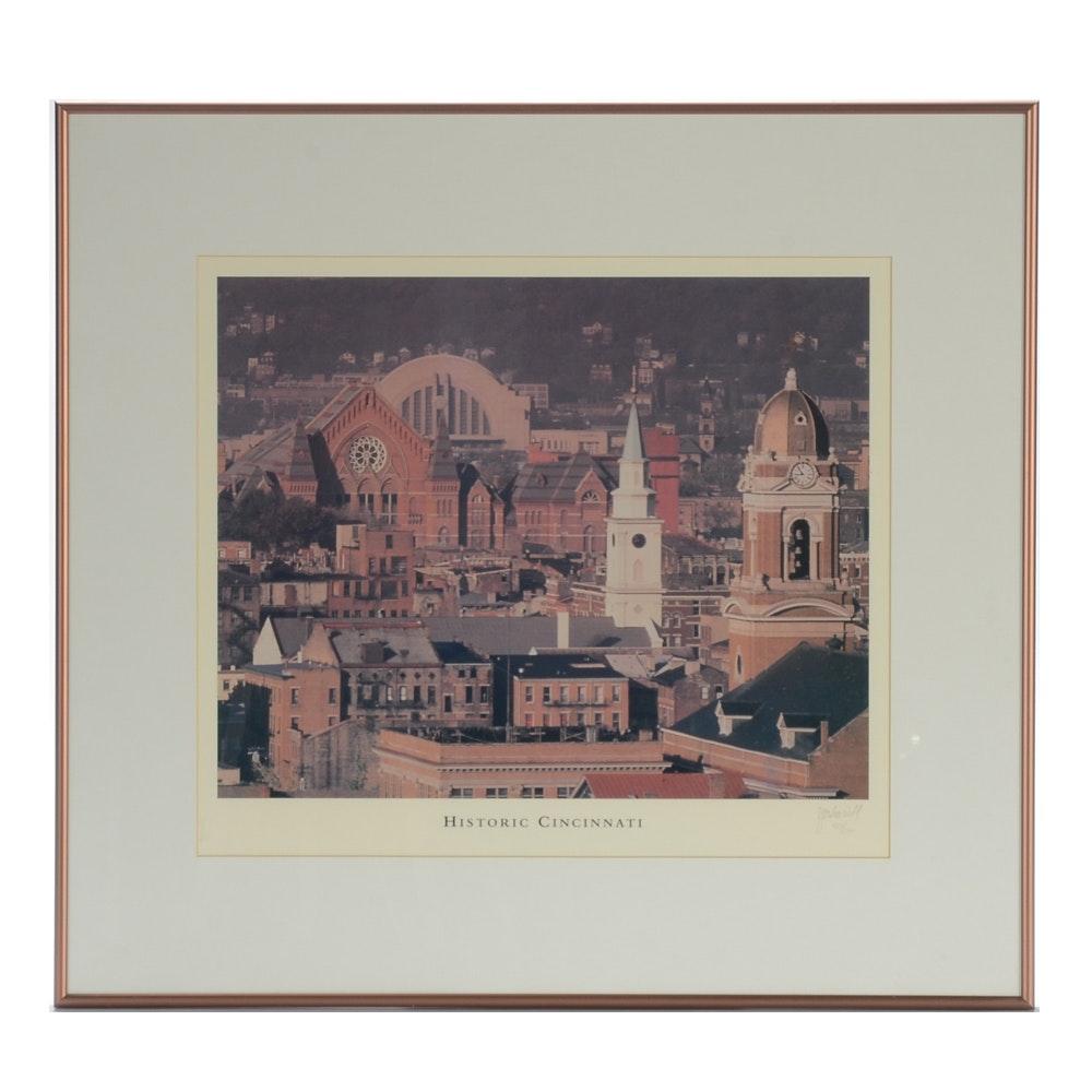 "J. Miles Wolf Limited Edition Offset Lithograph Print ""Historic Cincinnati"""