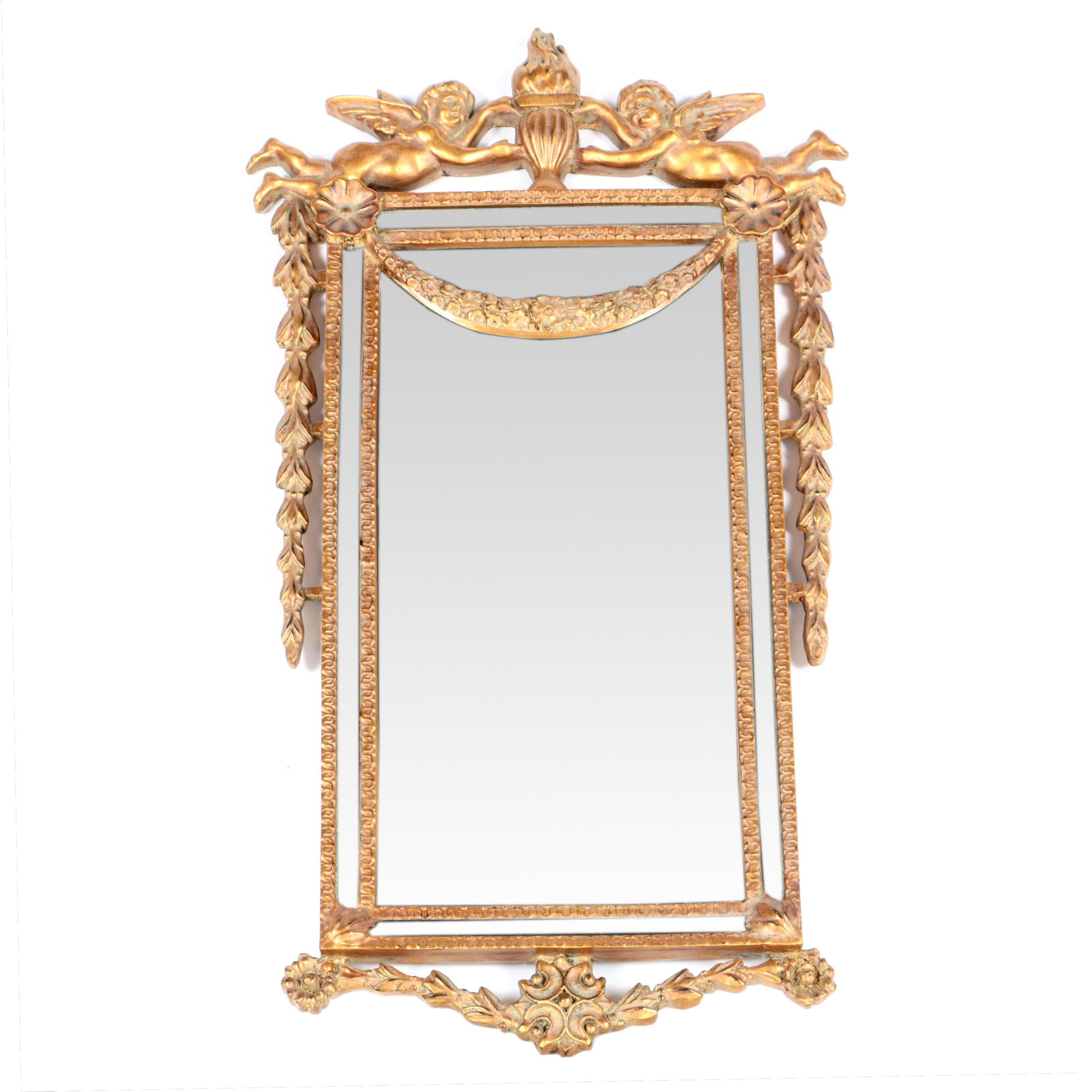 Baroque Style Wall Mirror with Cherub Accents