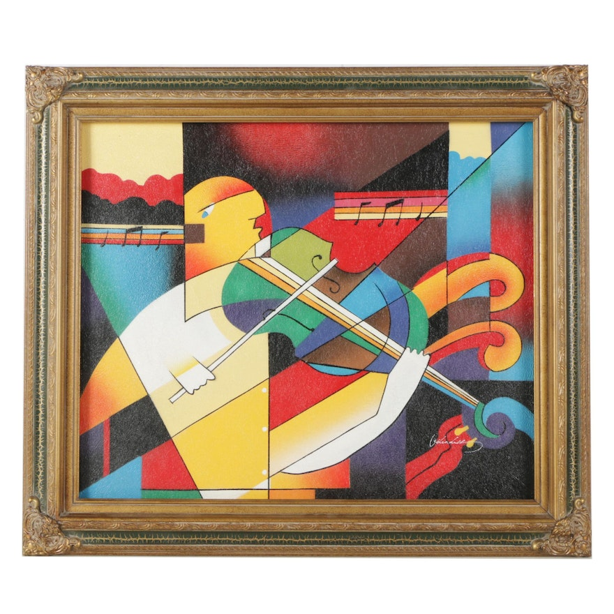 Airbrush Painting Of Abstract Musician
