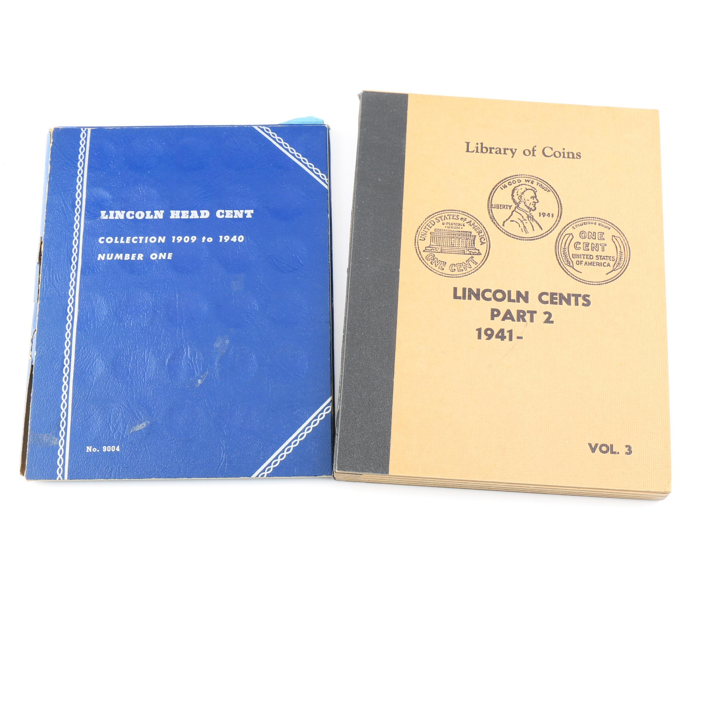 Group of Two Vintage Coin Folders of Lincoln Cents