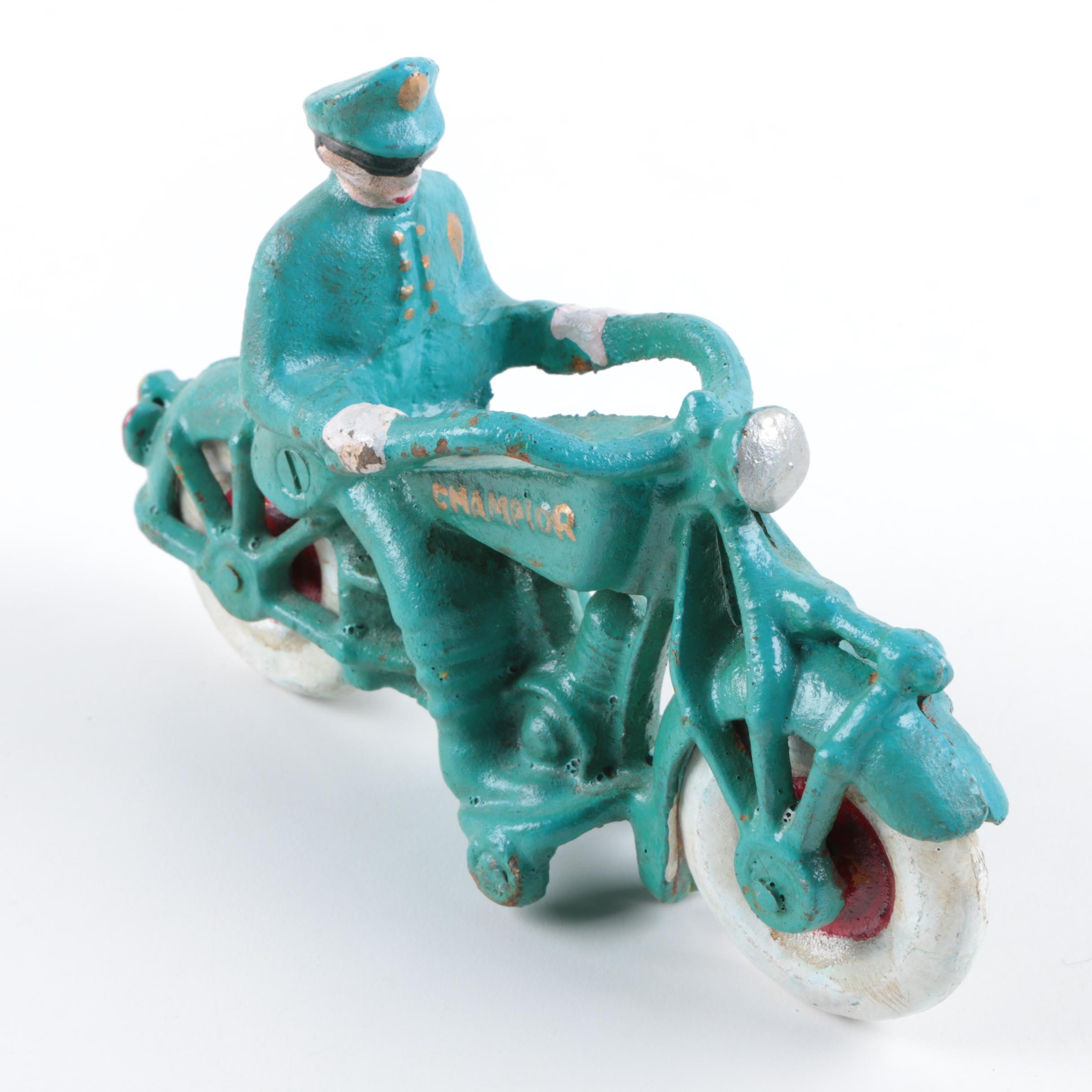 Police Officer On Motorcycle Cast Figure