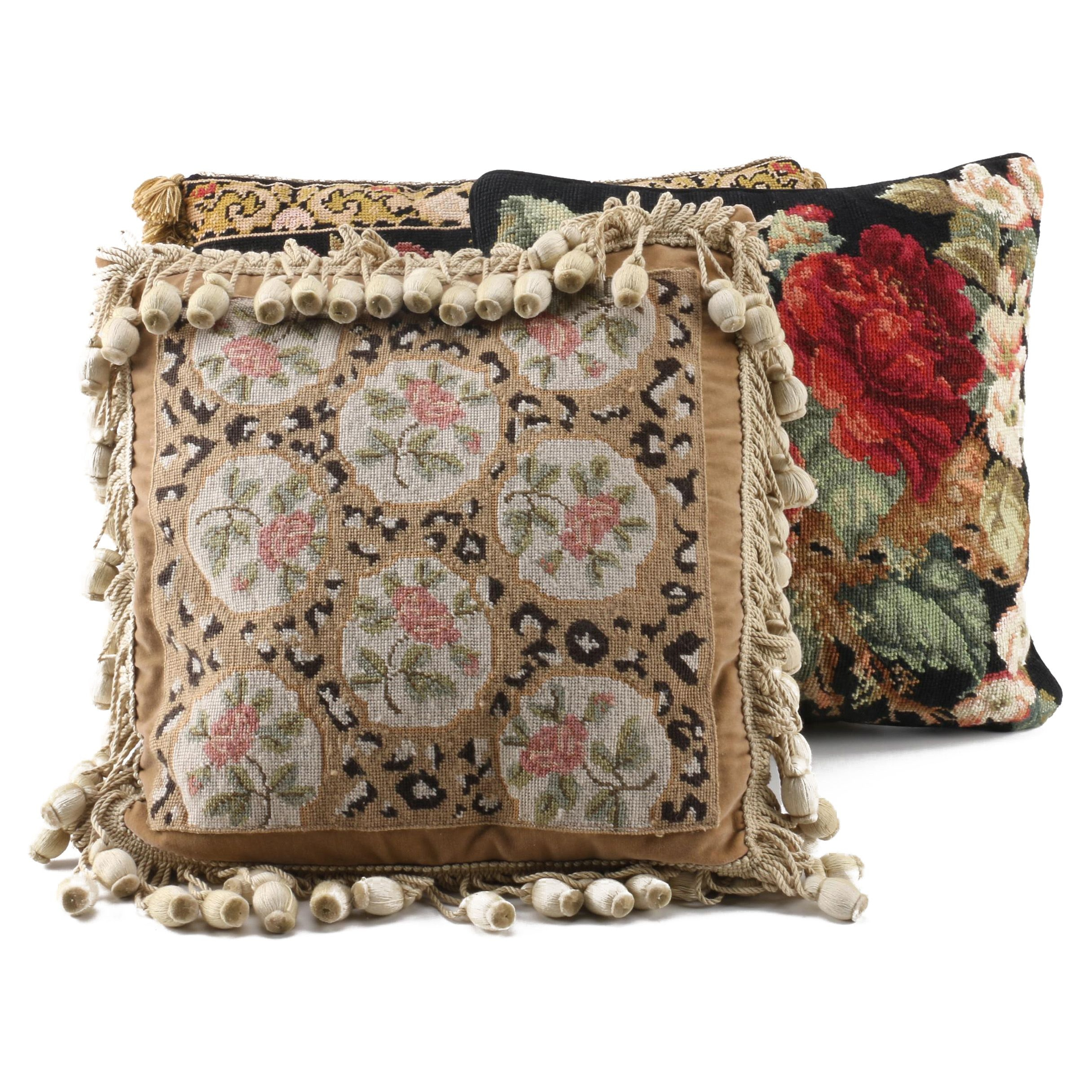 Accent Throw Pillows Including Needle Point