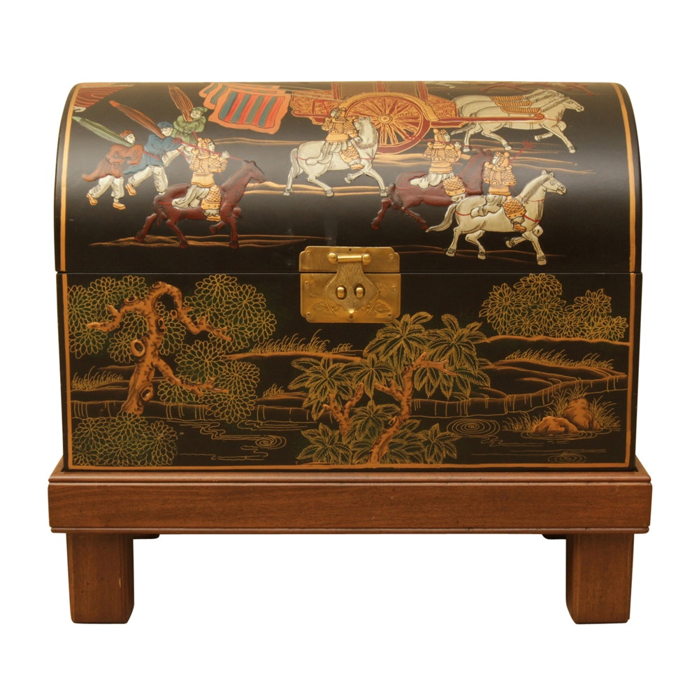 Asian Inspired Decorative Coffer with Stand