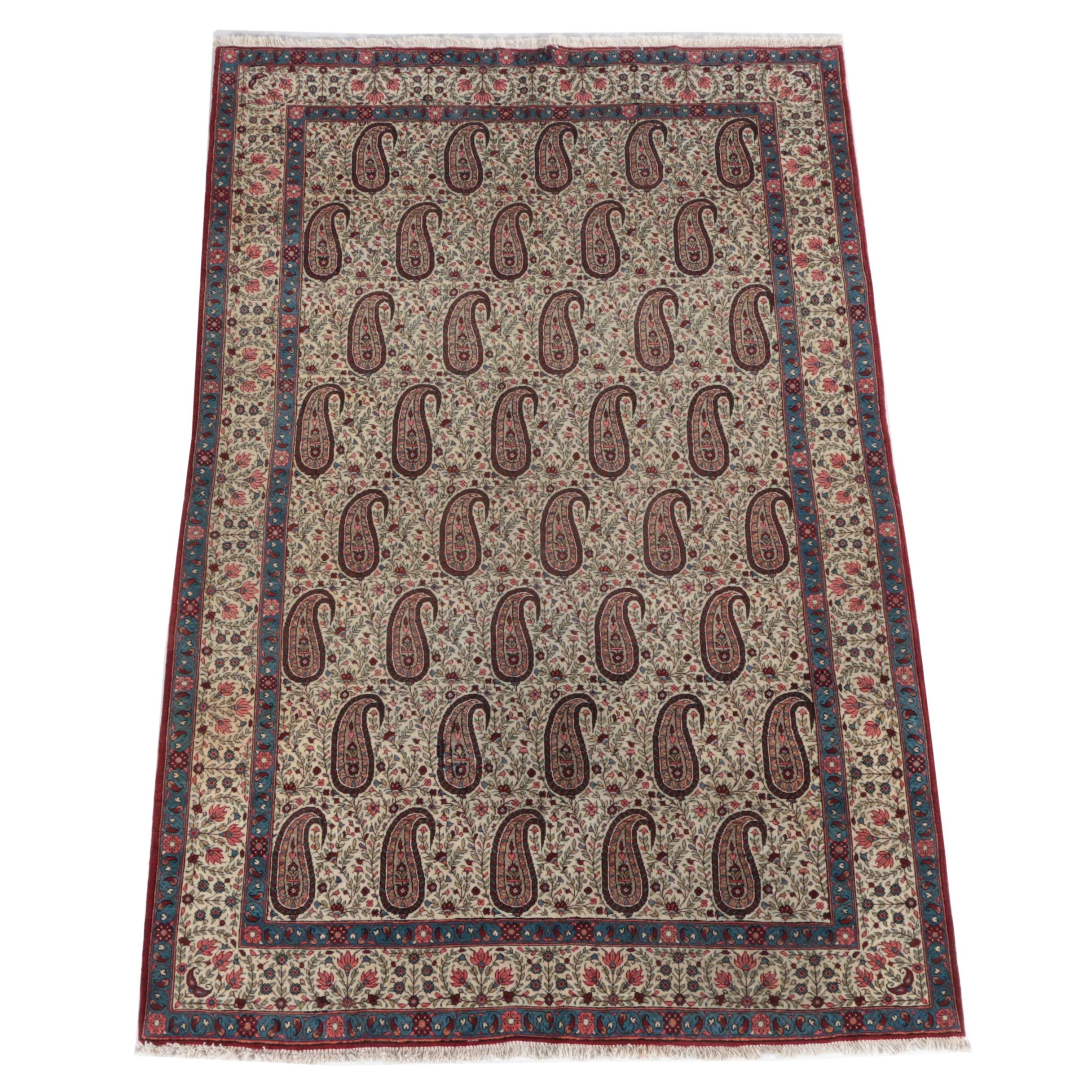 Antique Hand-Knotted Persian Qum Boteh Area Rug
