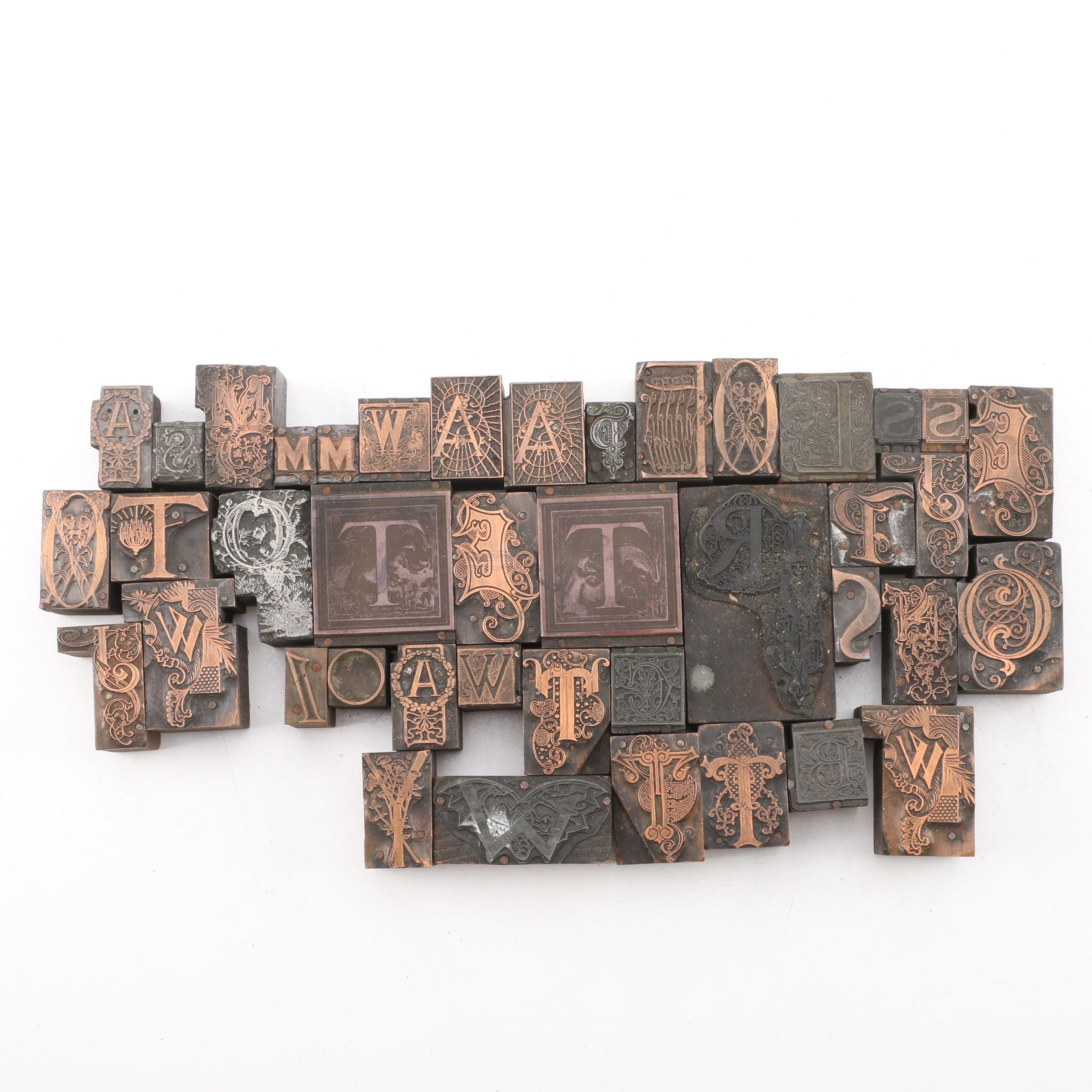 Antique Letterpress Drop Cap Initial Blocks Featuring Art Nouveau Styles