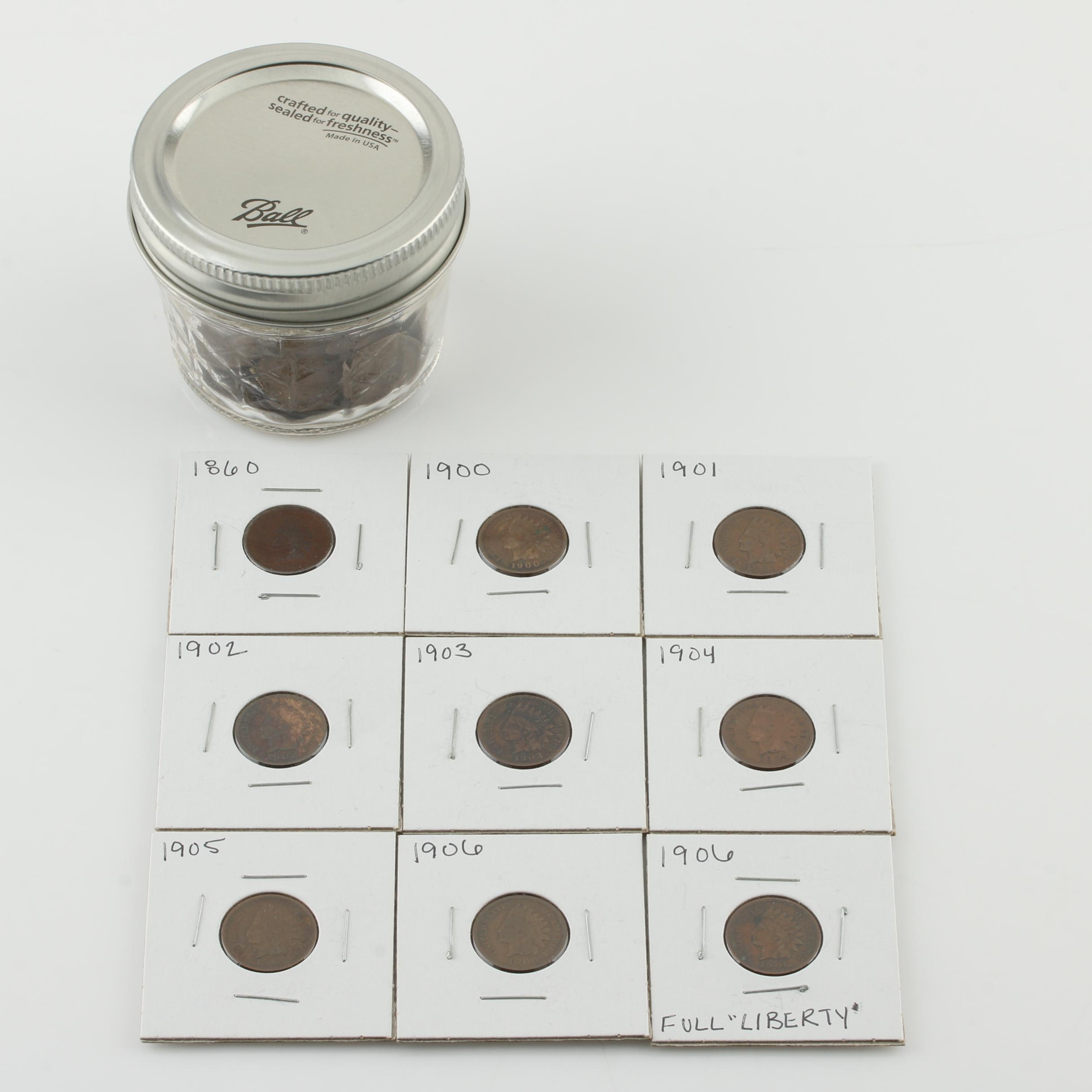 Group of Over 50 Indian Head Cents from 1860 to 1907