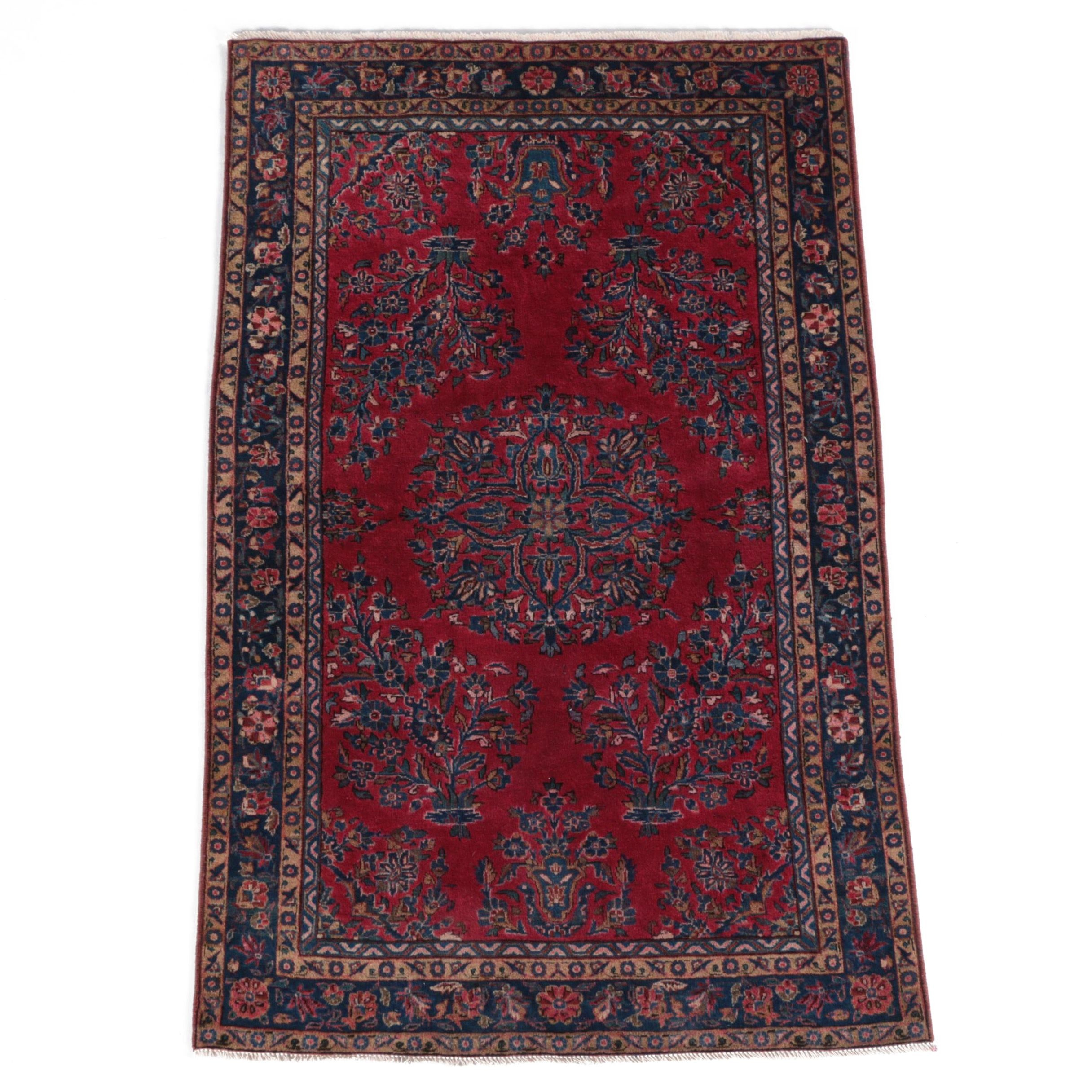 Antique Hand-Knotted Persian Sarouk Area Rug