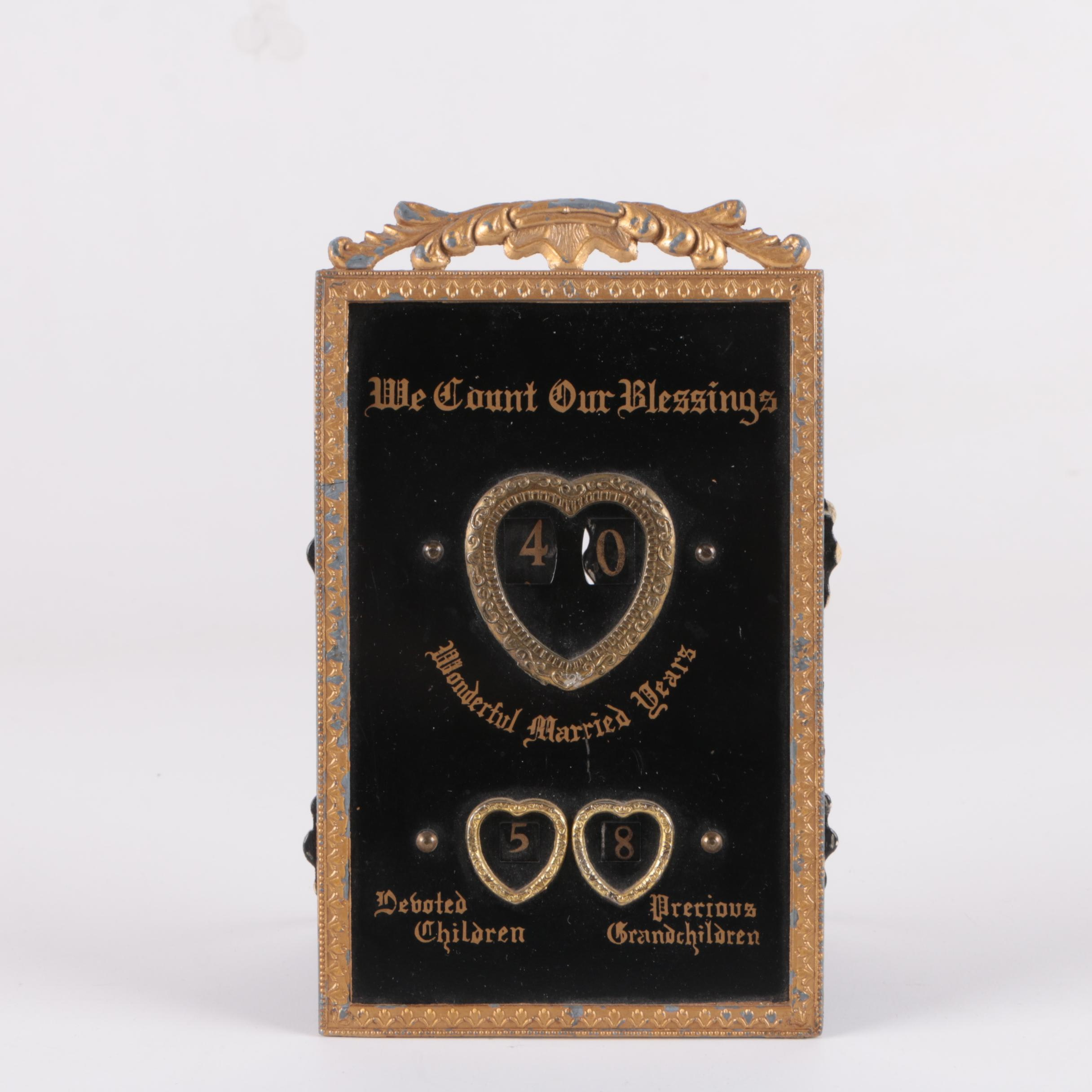 "Vintage Metal ""We Count Our Blessings"" Family Counting Sign"