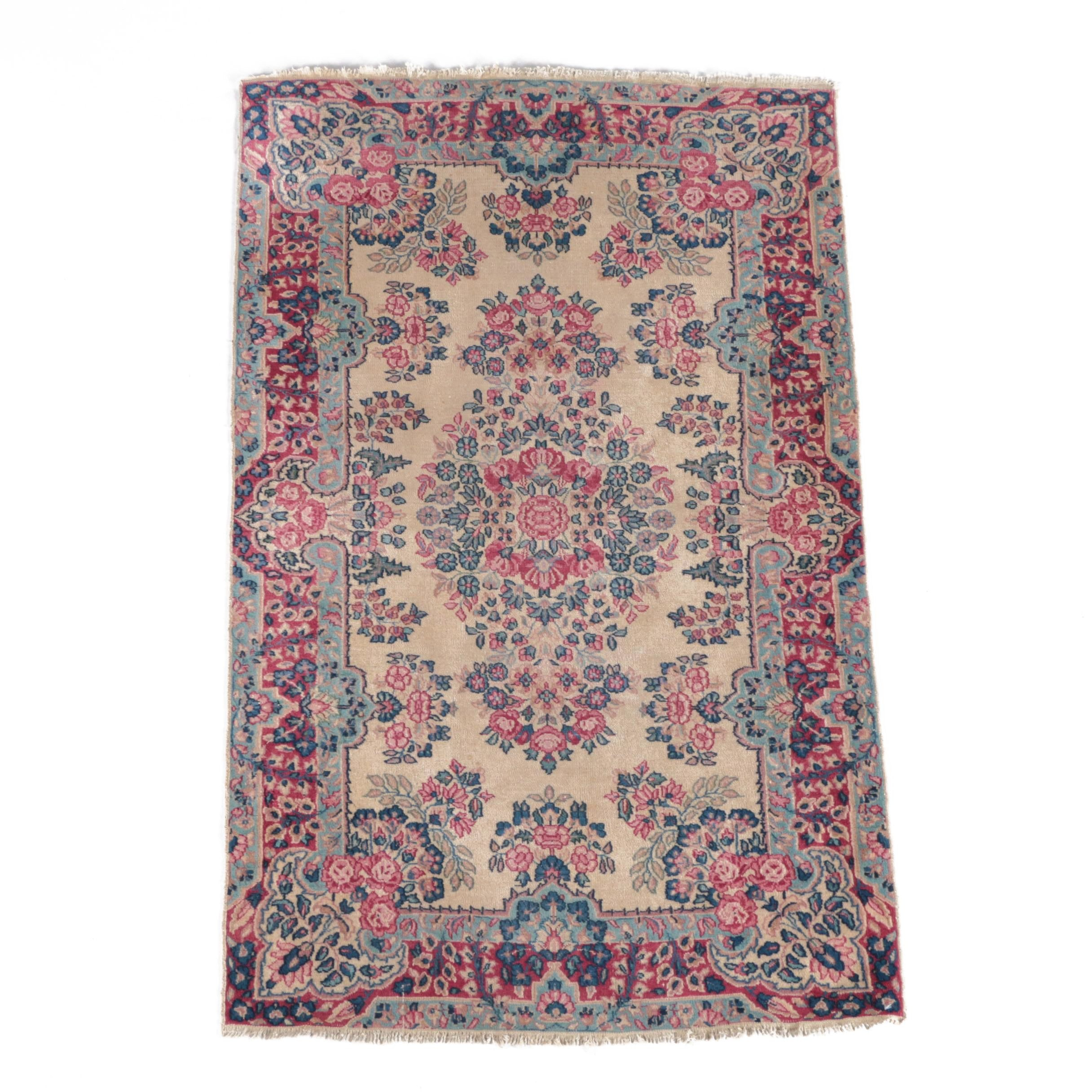 Vintage Hand-Knotted Persian Kerman Area Rug