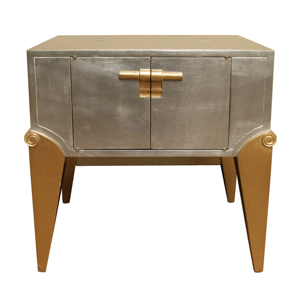 Art Deco Style Metallic Accent Cabinet