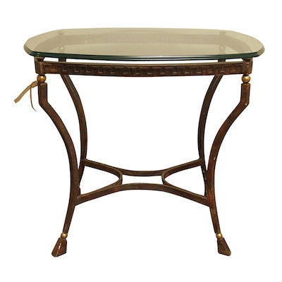 Neoclassical Style Glass Top Accent Table - Online Furniture Auctions Vintage Furniture Auction Antique