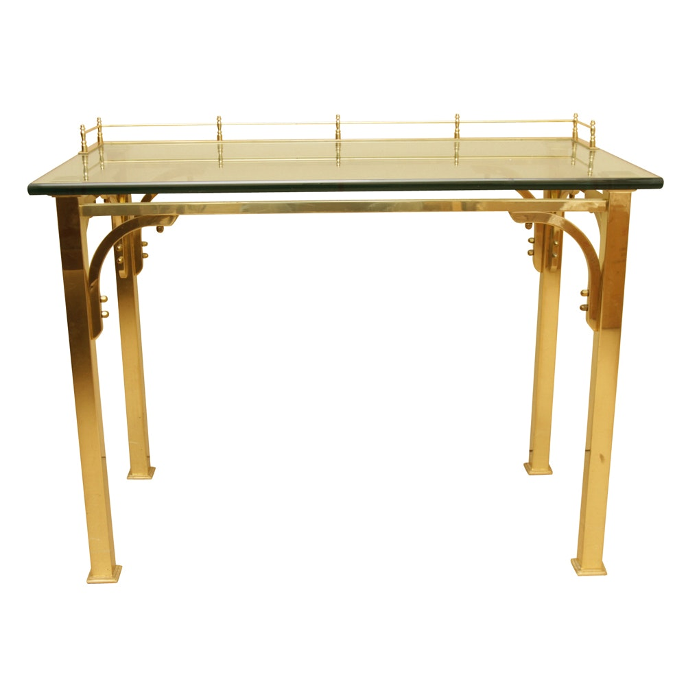 Brass and Glass Writing Desk