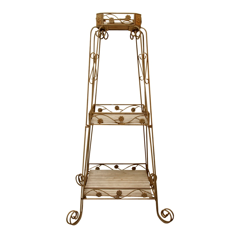 Distressed Metal Three Tier Stand