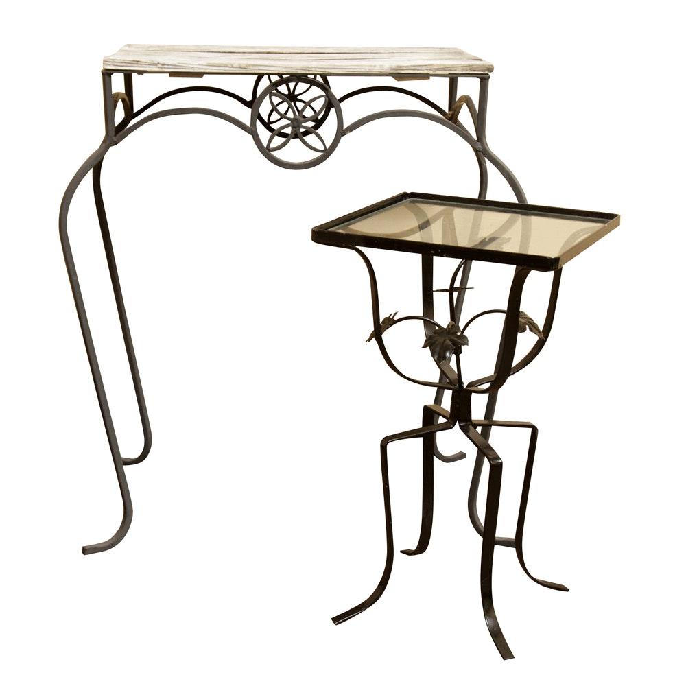 Two Wrought Metal Accent Tables
