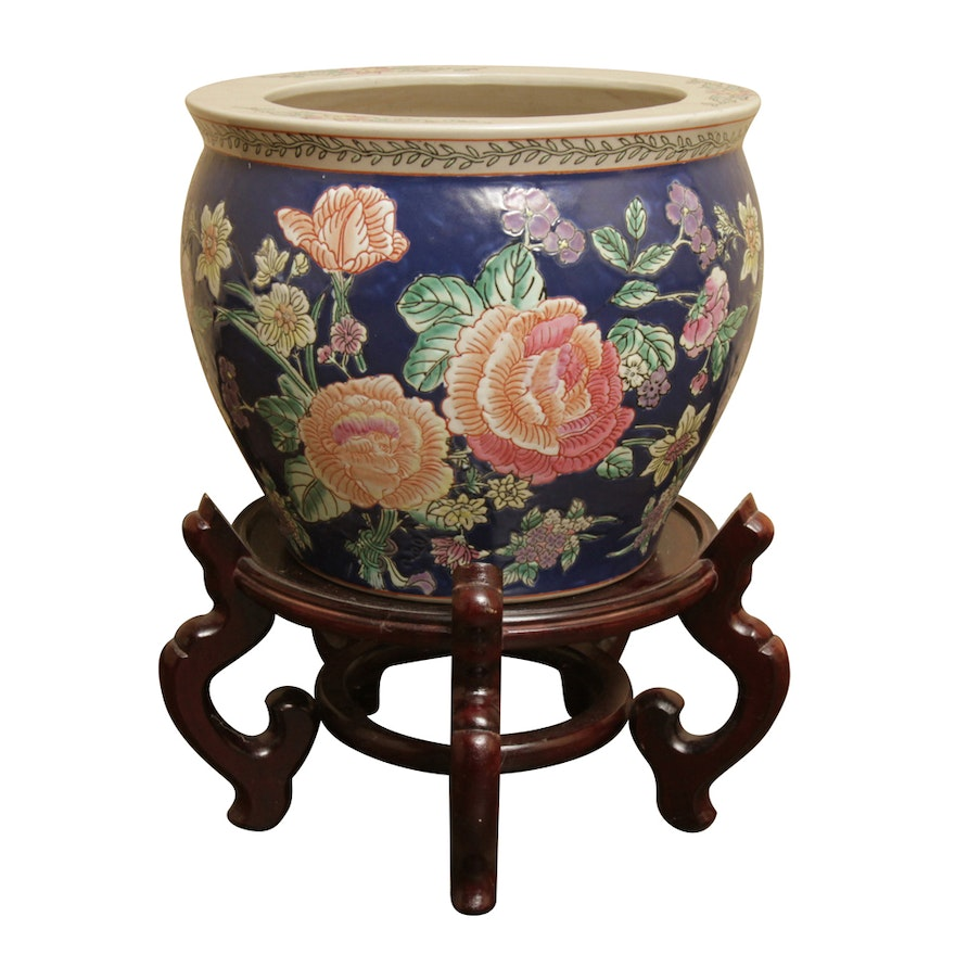 Chinese Fish Bowl Planter And Wood Stand