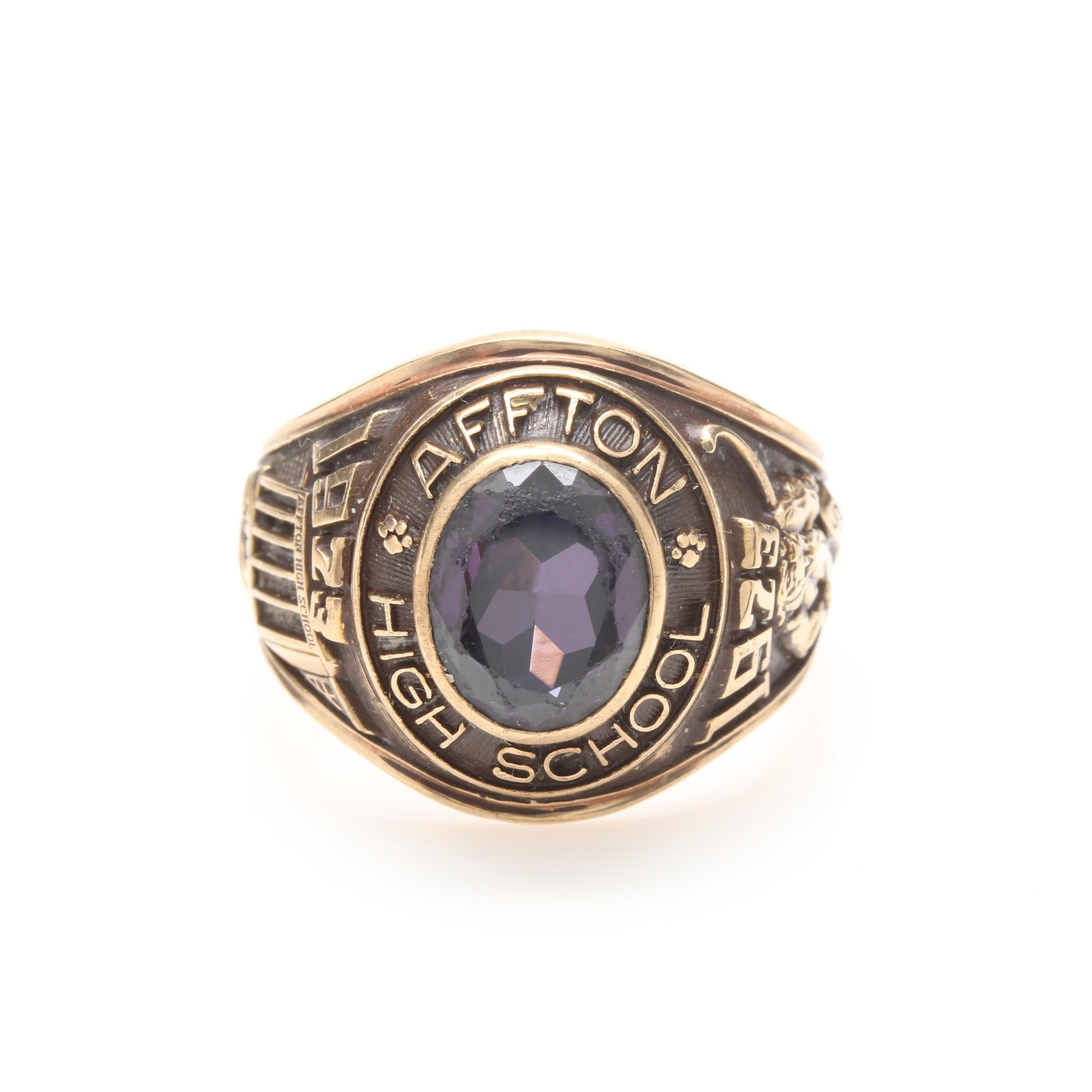 10K Yellow Gold Synthetic Spinel High School Ring