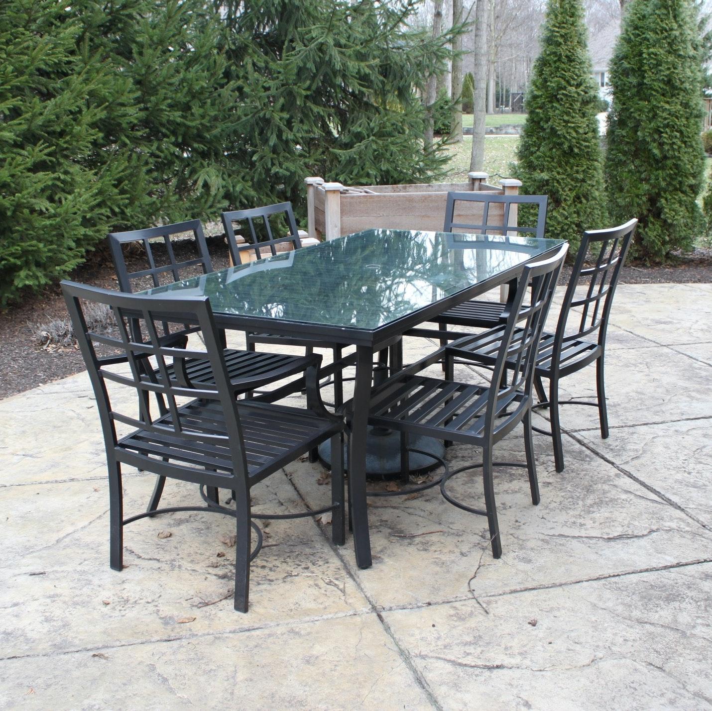 pottery barn riviera dining patio table with chairs ebth rh ebth com agio riviera patio furniture riviera patio set