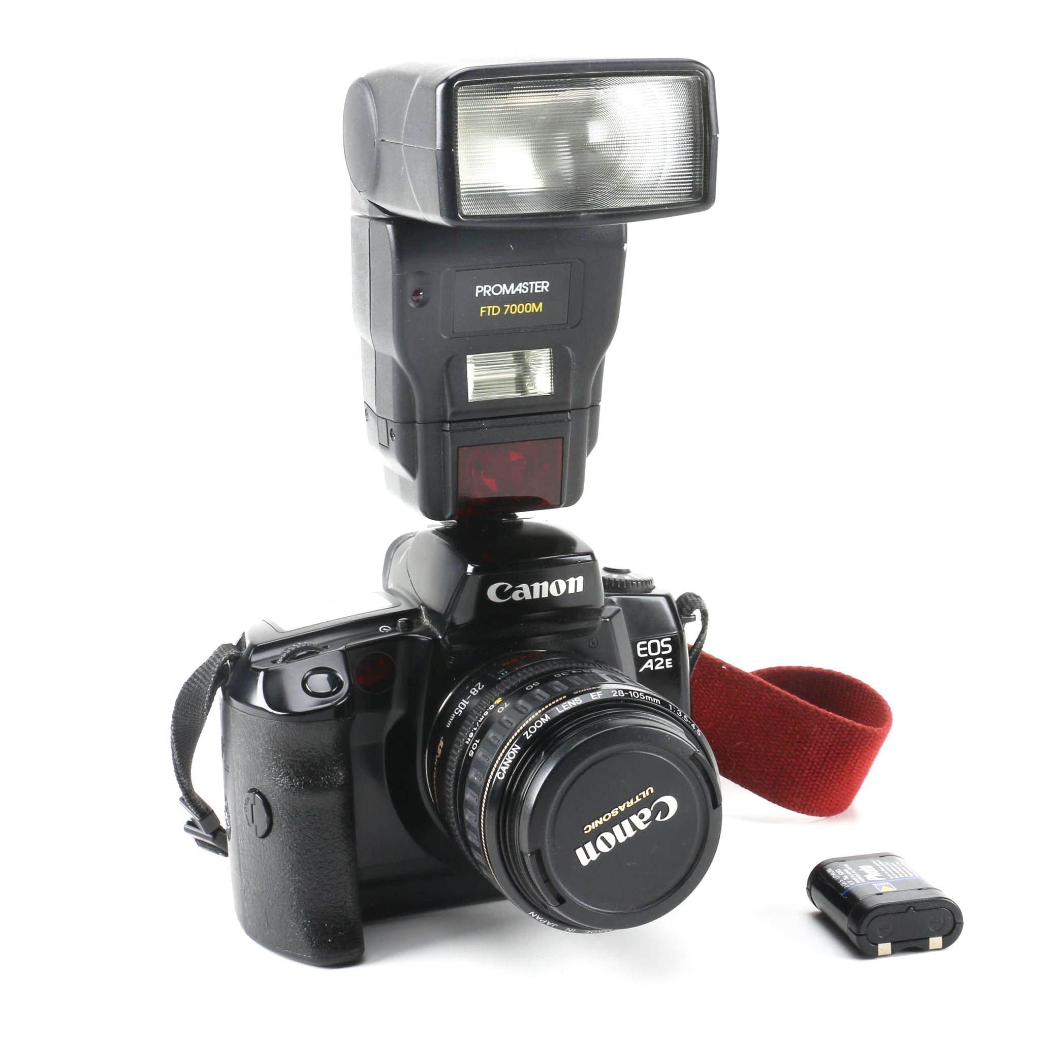 Canon EOS A2E with Promaster Flash