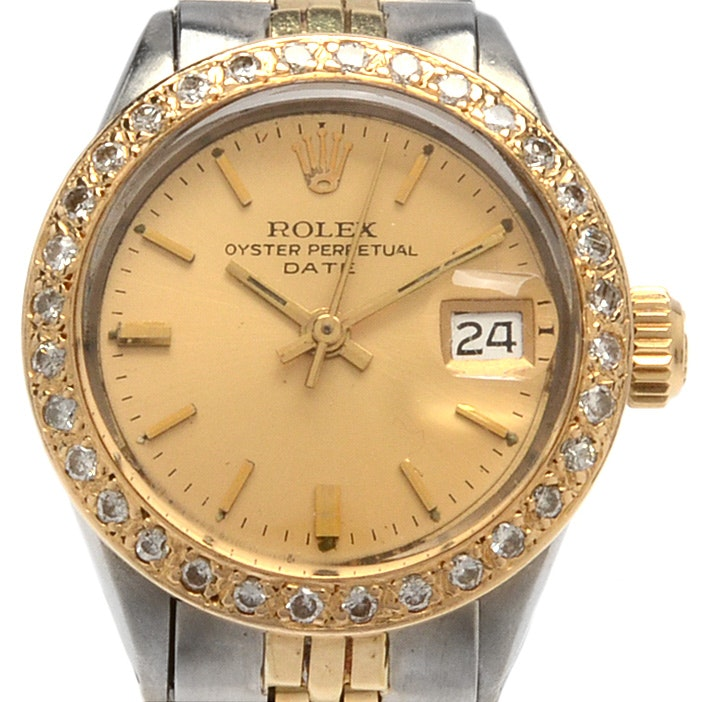 Rolex Oyster Perpetual Datejust 14K Gold Diamond Bezel Wristwatch