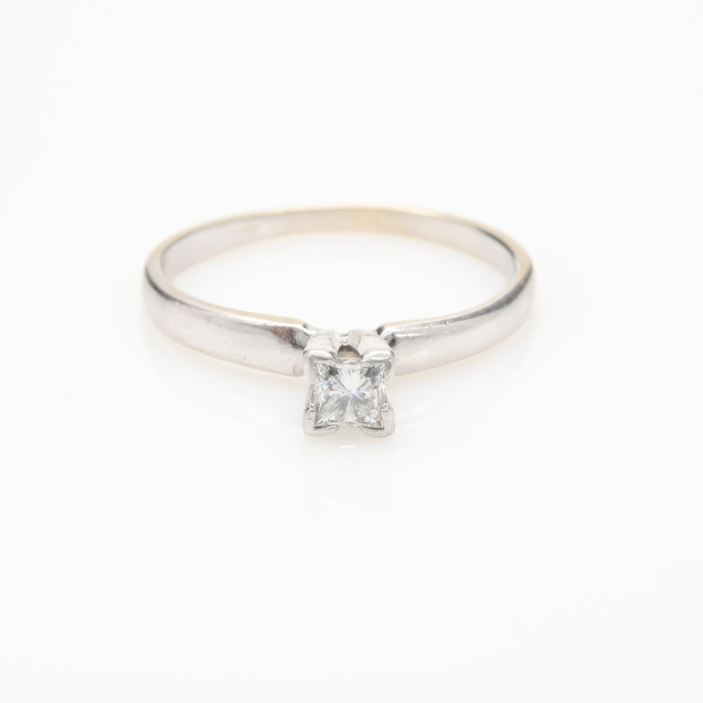 14K White Gold Diamond Solitaire Ring with Platinum Head