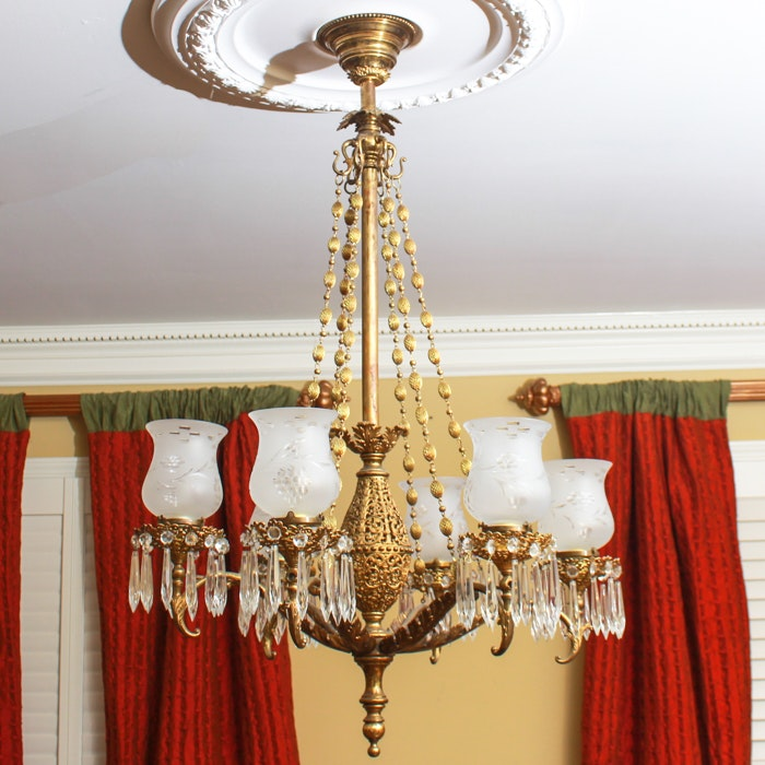 Ornate Metal Chandelier with Cut Glass Prisms