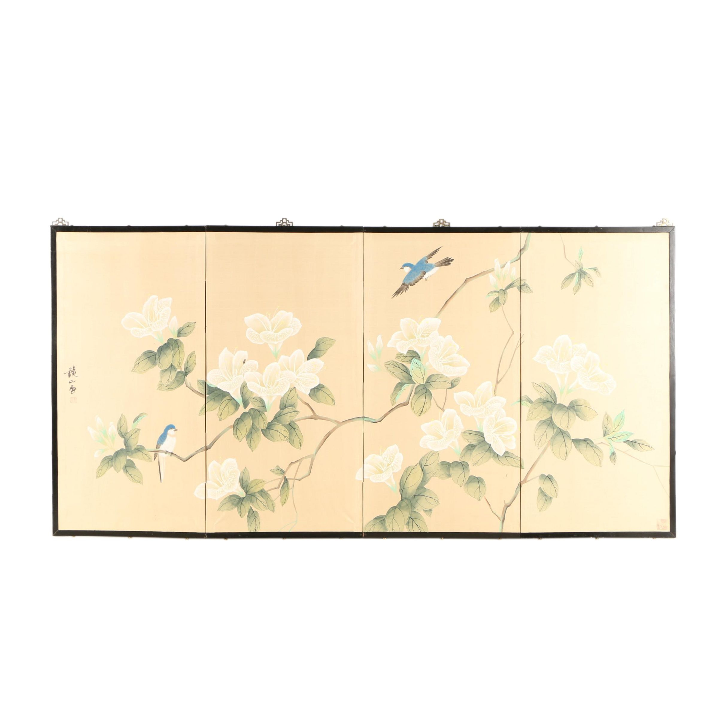 Chinese Painted Folding Screen