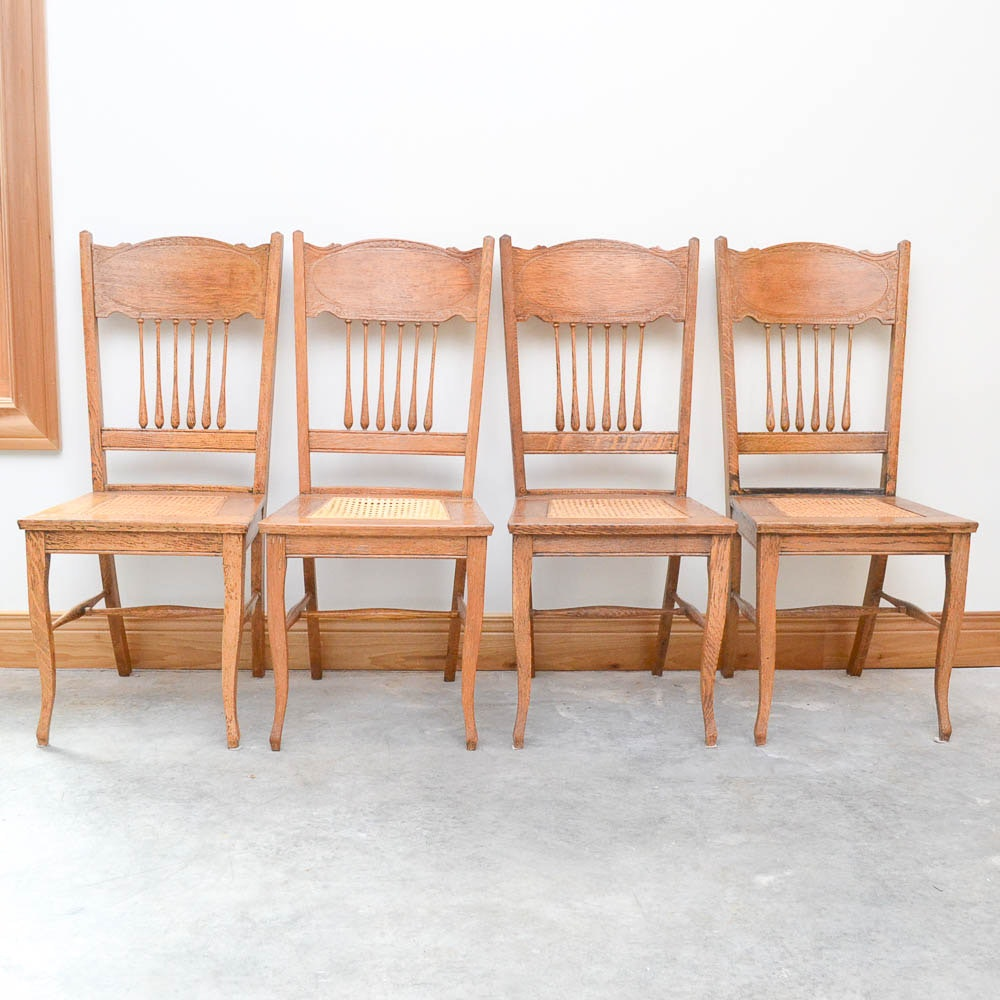 Set of Vintage Oak and Cane Seat Dining Chairs
