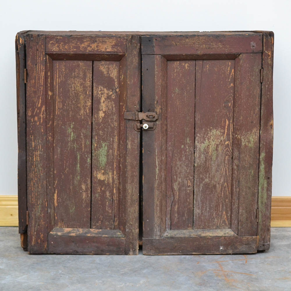 Antique Rustic Painted Hanging Cupboard
