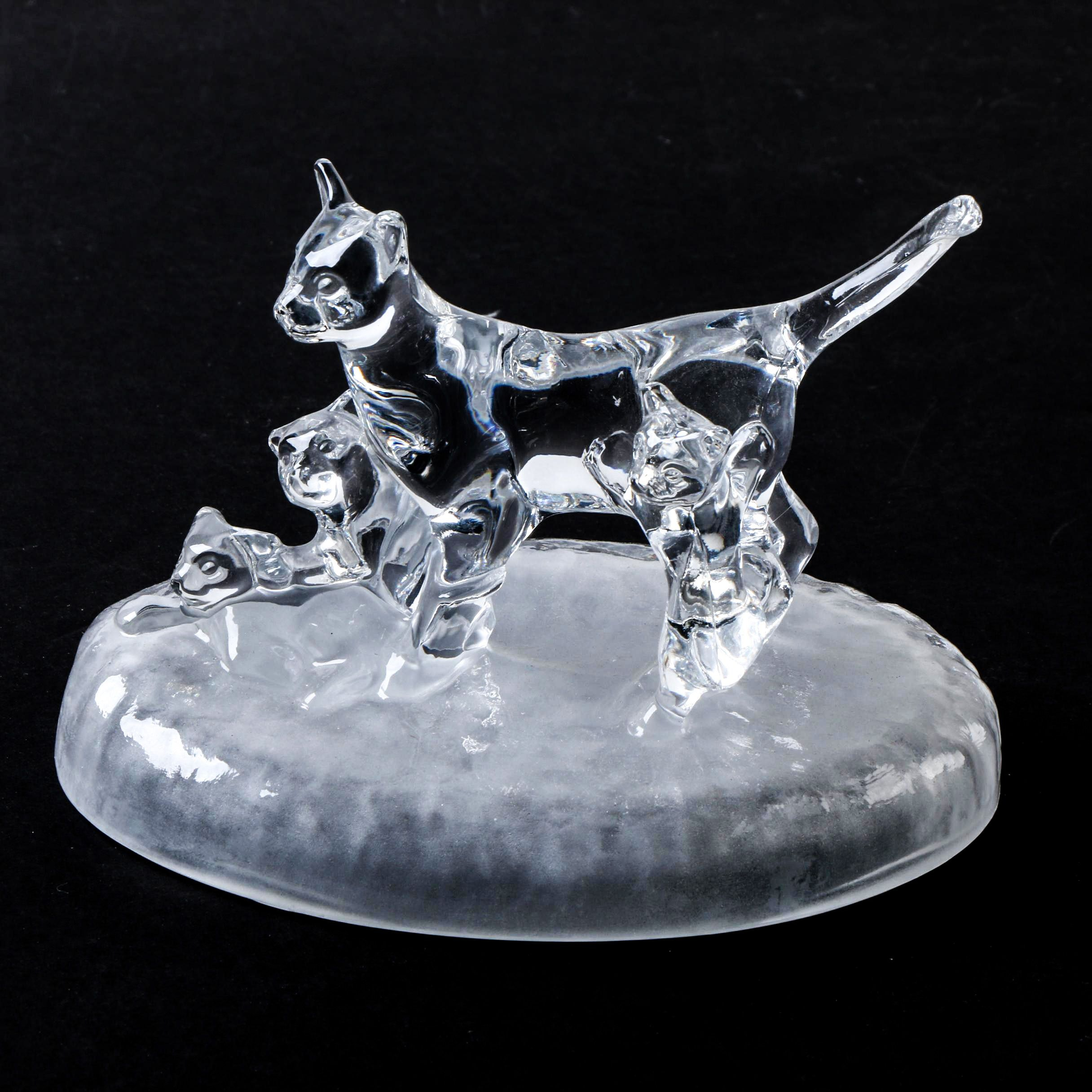 Cristal Darques France.Cristal D Arques France Crystal Cat Family Figurine Ebth