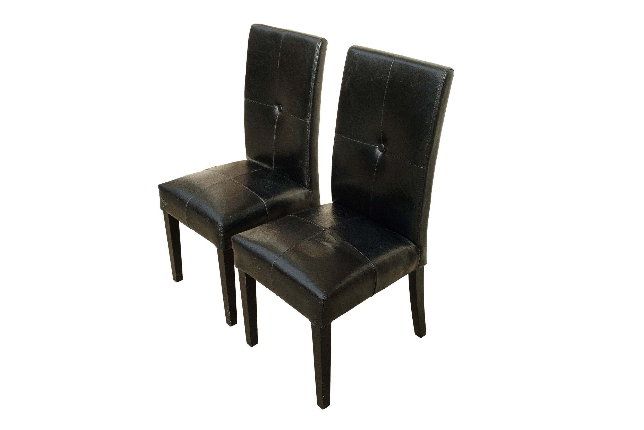 Pair of Black Bonded Leather Side Chairs