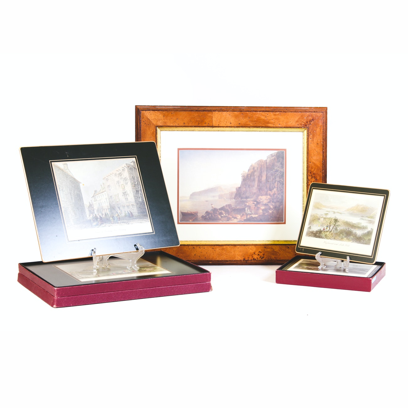 Boxed Lady Clare Placemat Sets and Offset Lithograph of Seaside Landscape
