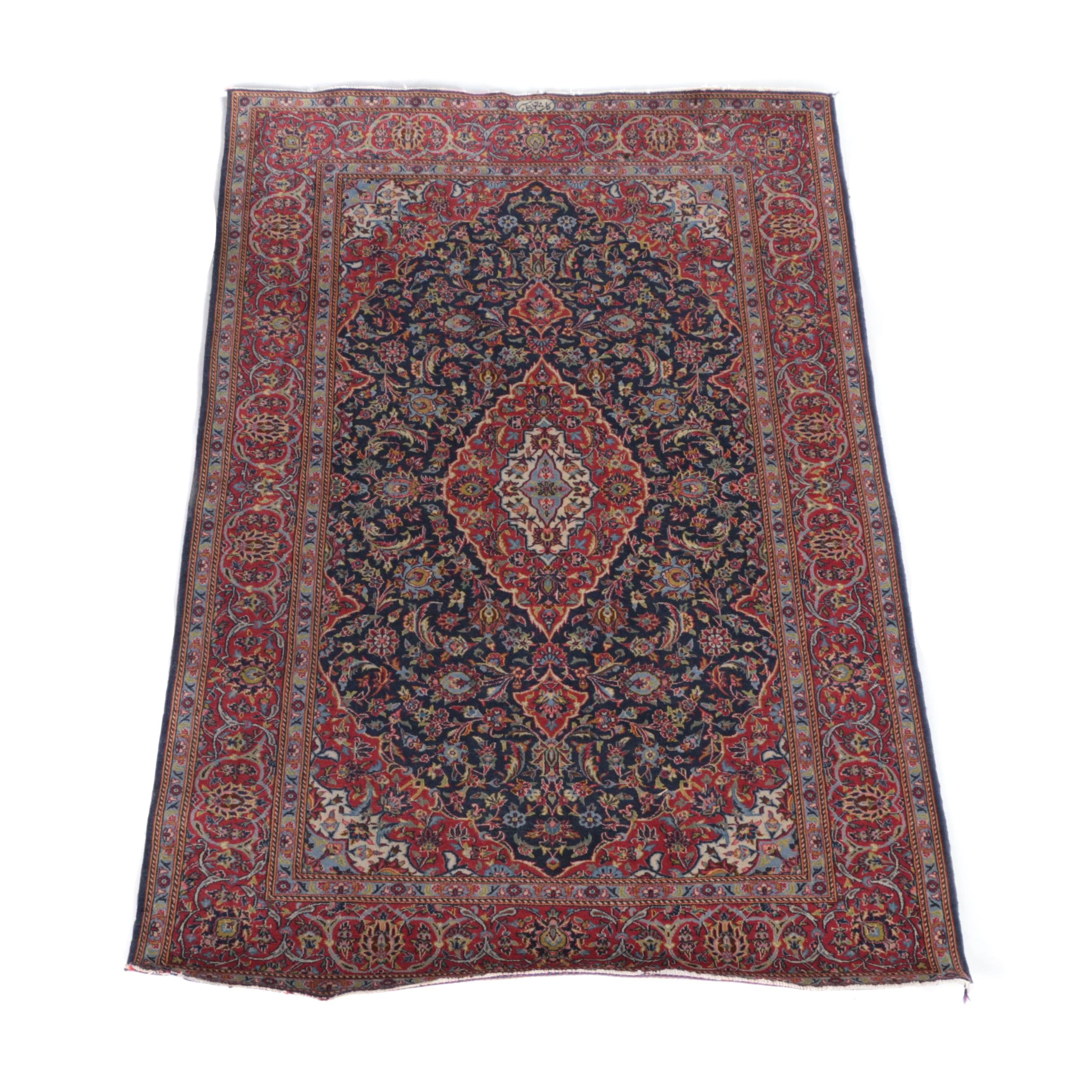 Hand-Knotted Shadsar Persian Kashan Area Rug