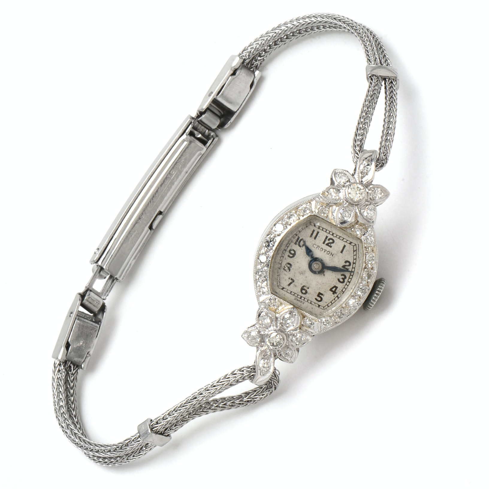 Platinum Croton Wristwatch with Diamond Floral Design