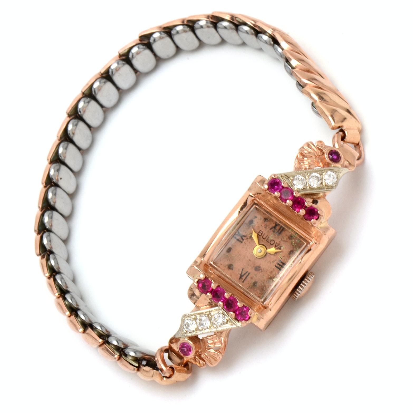 Vintage 14K Bulova Rose Toned Diamond and Synthetic Ruby Wristwatch