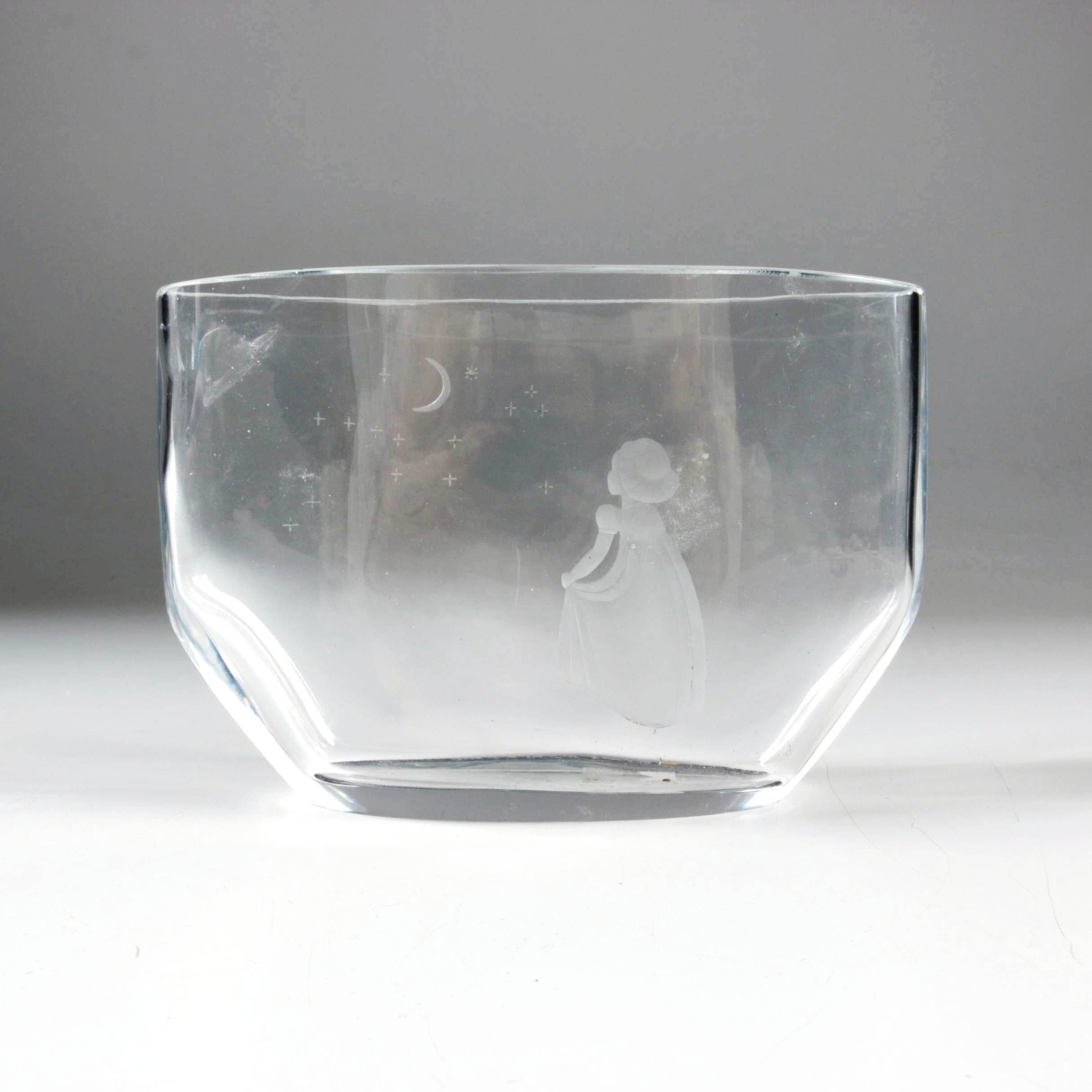 "Orrefors ""Wish to the Moon"" Etched Crystal Vase"