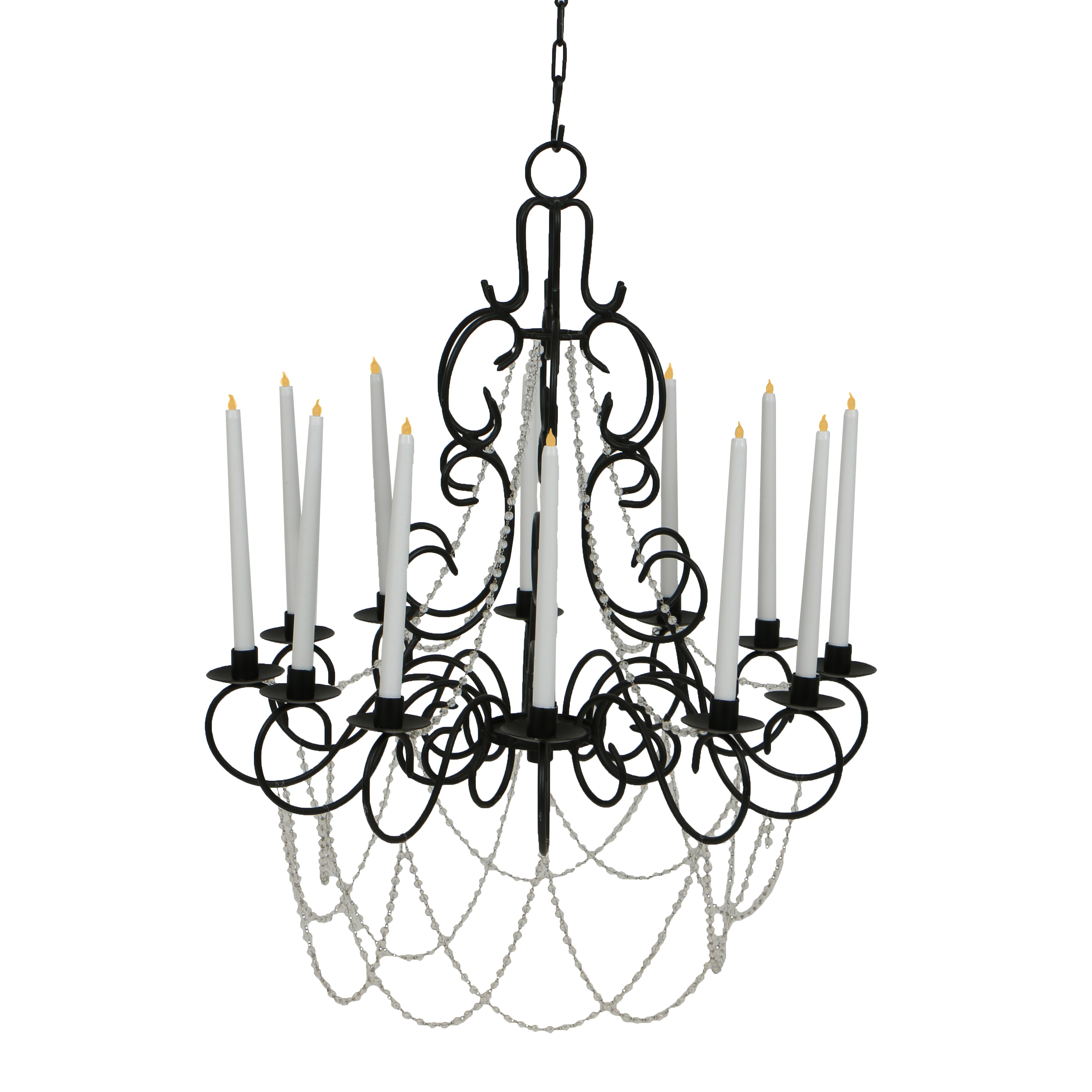 Contemporary Scrolled-Wire, Thirteen-Light Chandelier