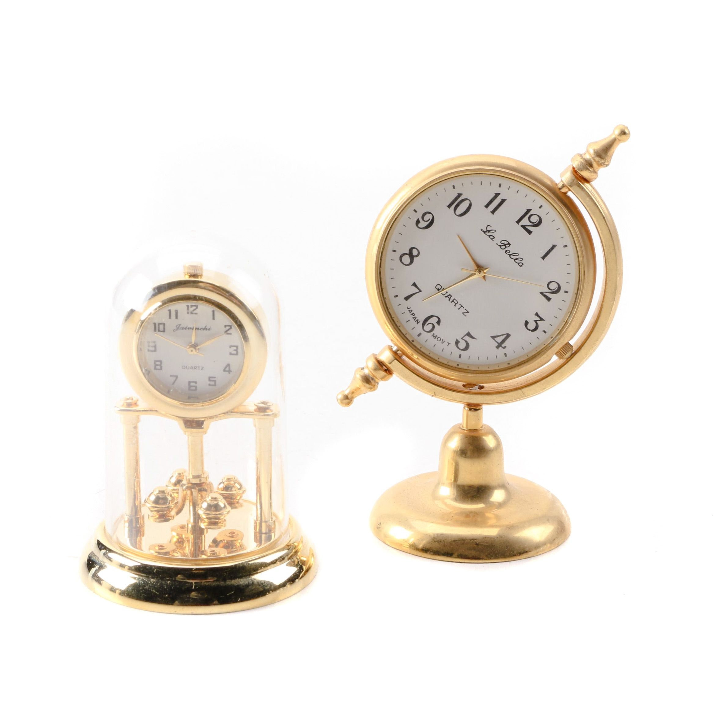LoBello and Jaivinchi Small Brass Desk Clocks