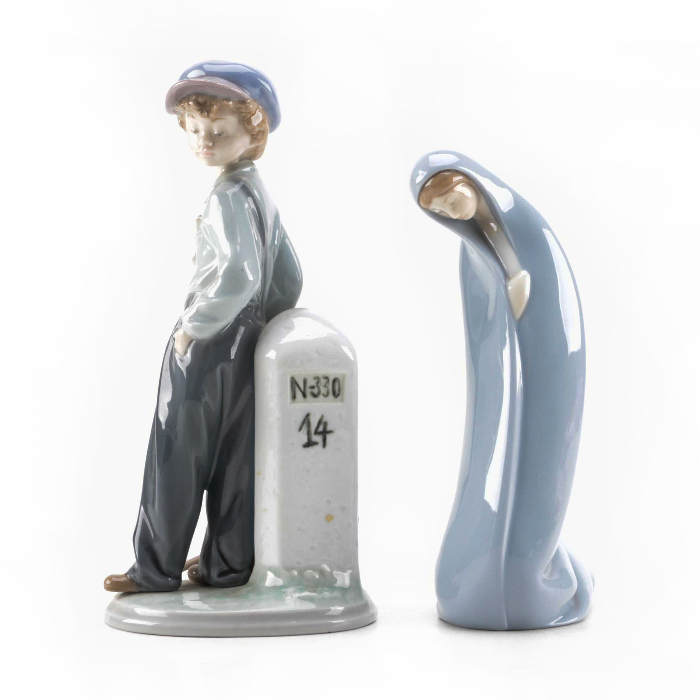 "Lladró Nativity ""Mary"" and ""The Wanderer Boy"" Figurines"