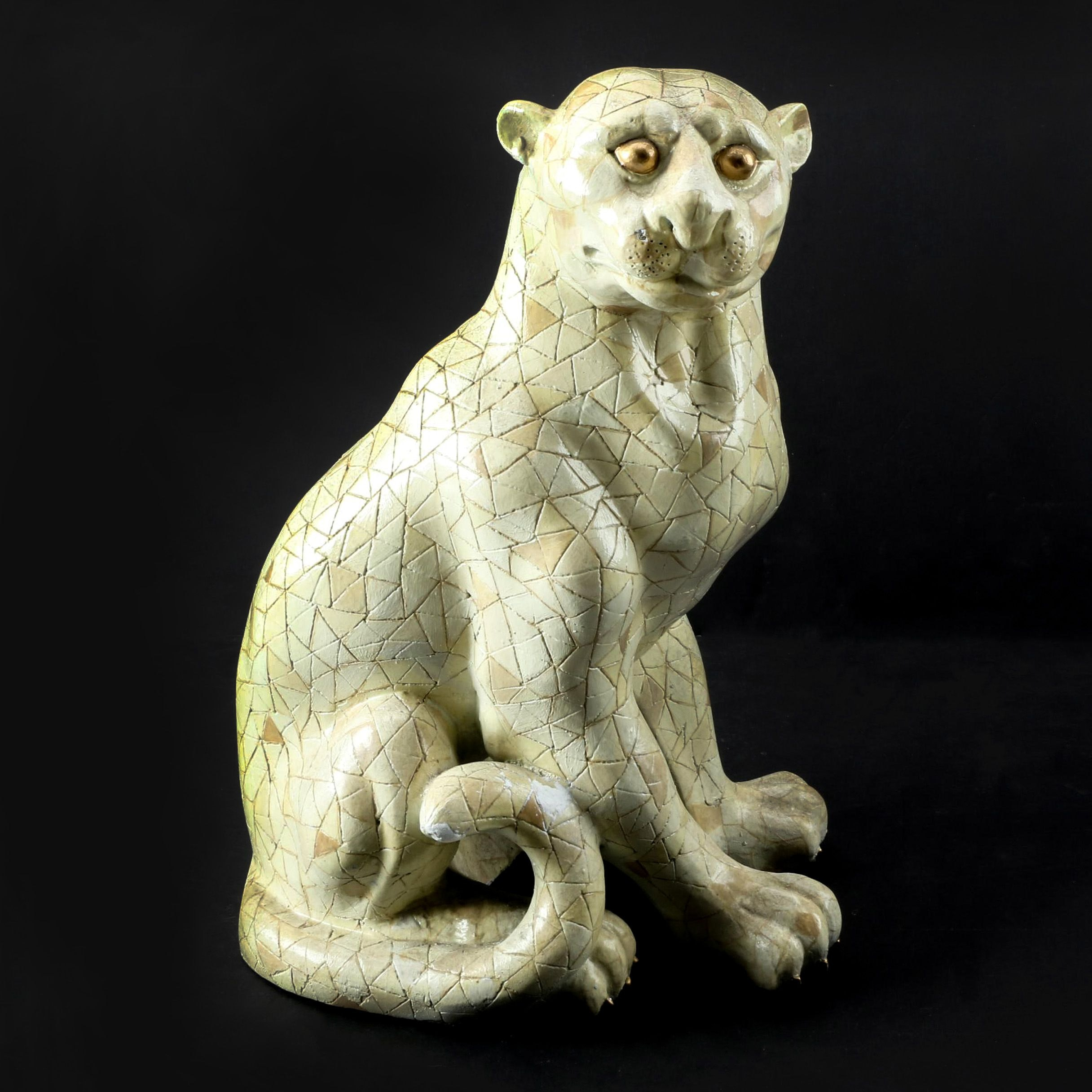 Ceramic Cat Figurine with Carved Geometric Accents