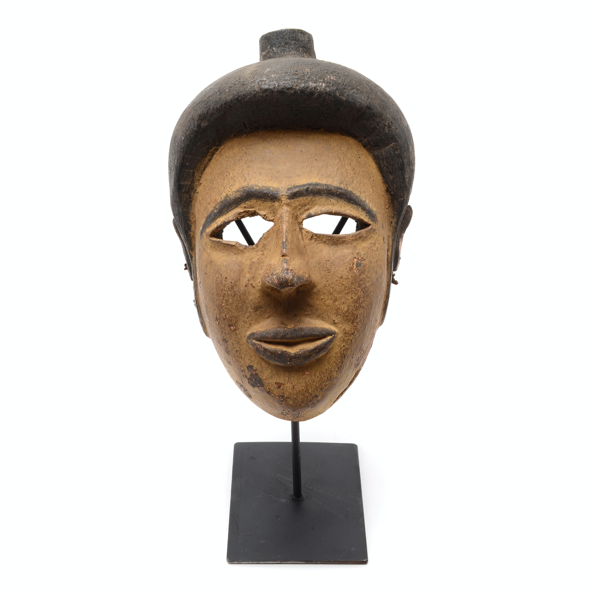 Circa 1930 Carved African Ekoi Painted and Carved Face Mask