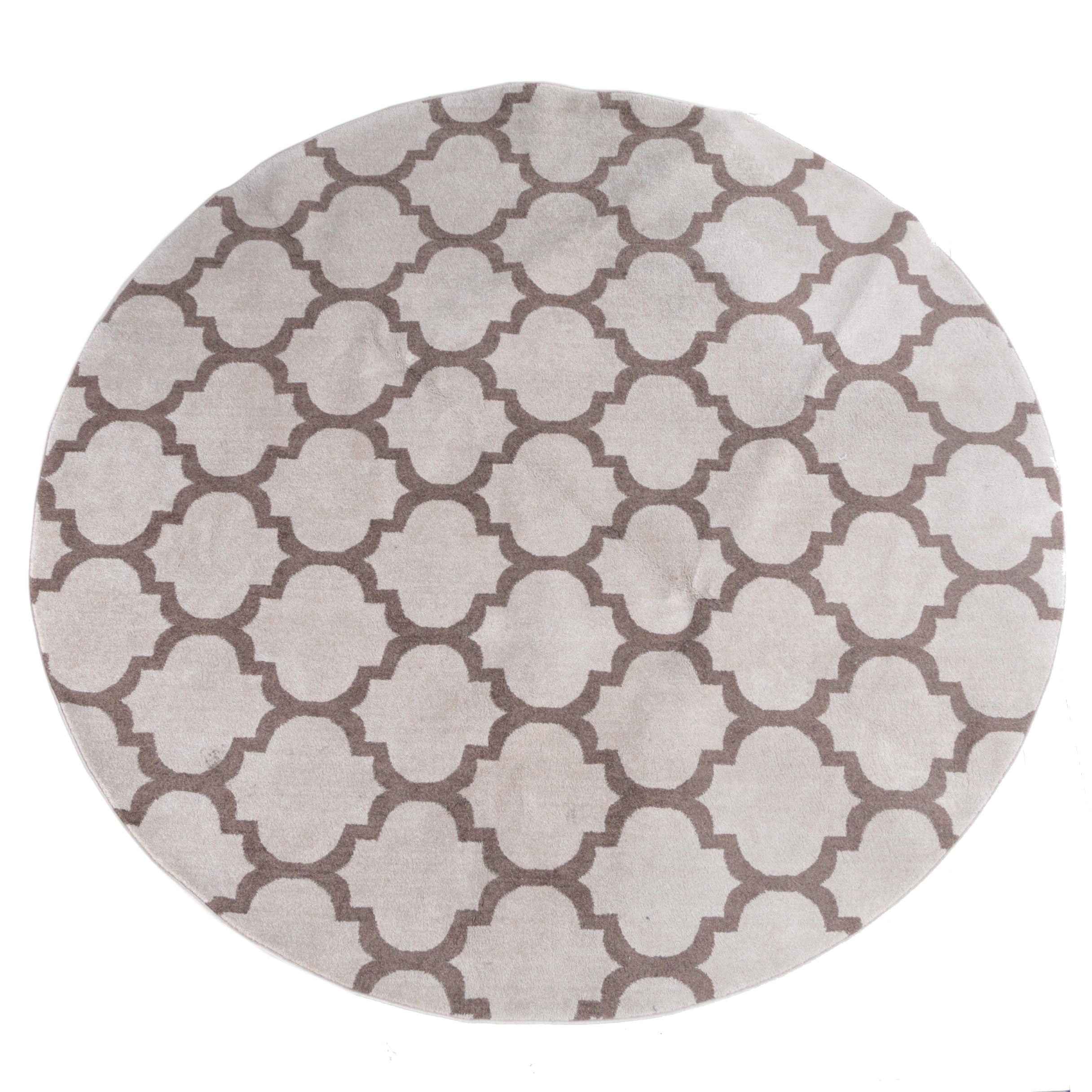 Power-Loomed Turkish Contemporary Round Area Rug by Omid Asia