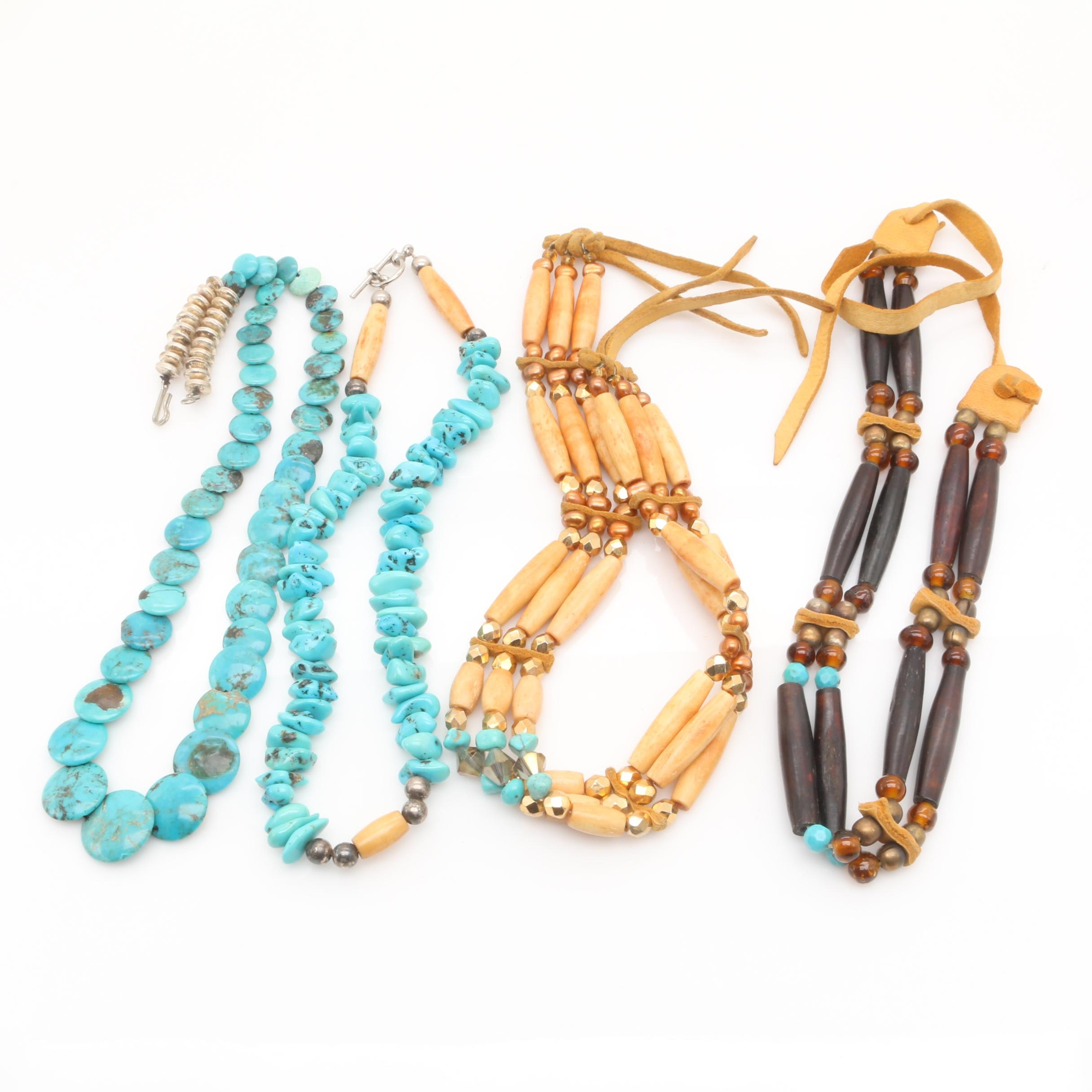 Group of Stabilized Turquoise, Bone and Wood Necklaces Featuring Tanned Hide