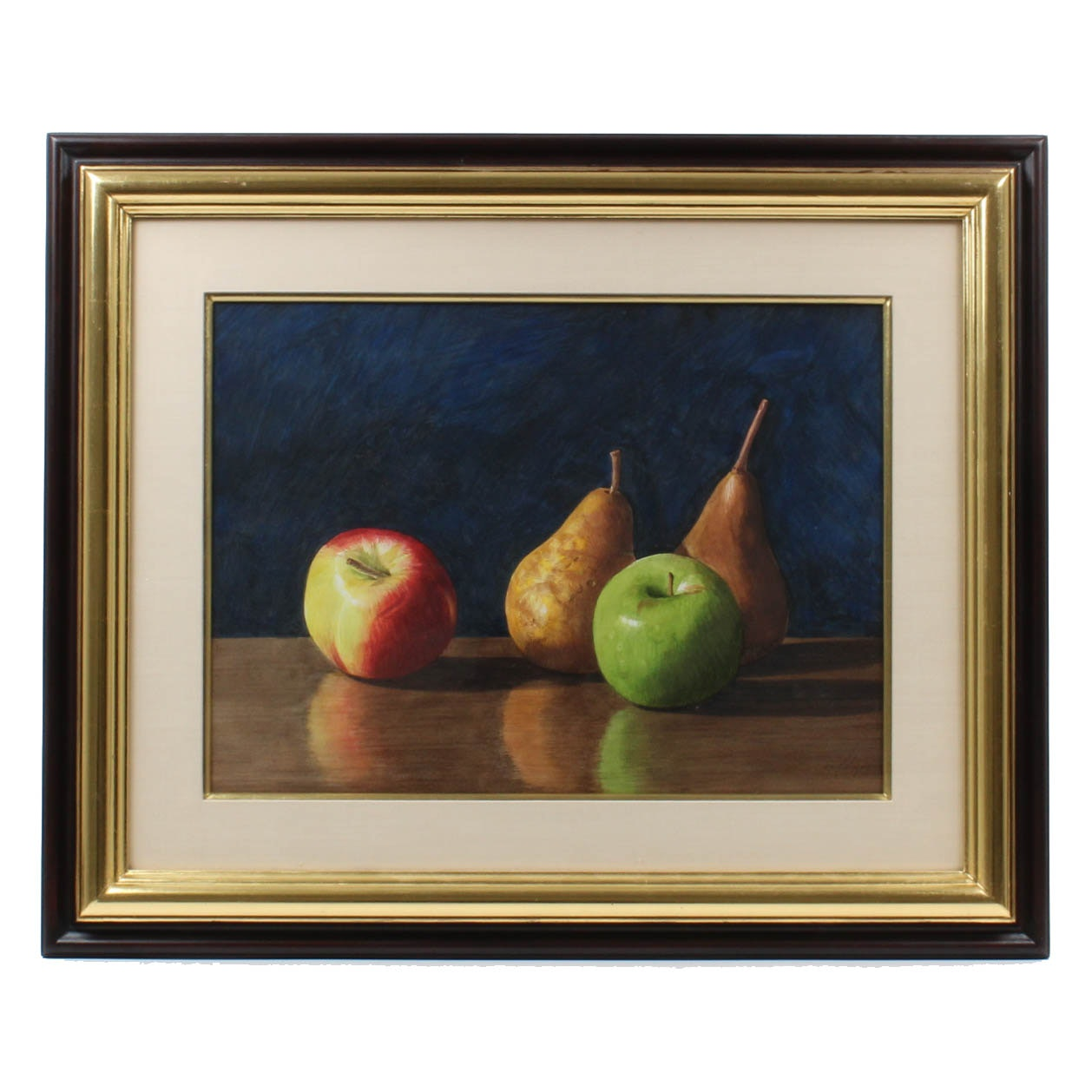"Robert Dodge Gouache Painting ""Pears and Apples"""