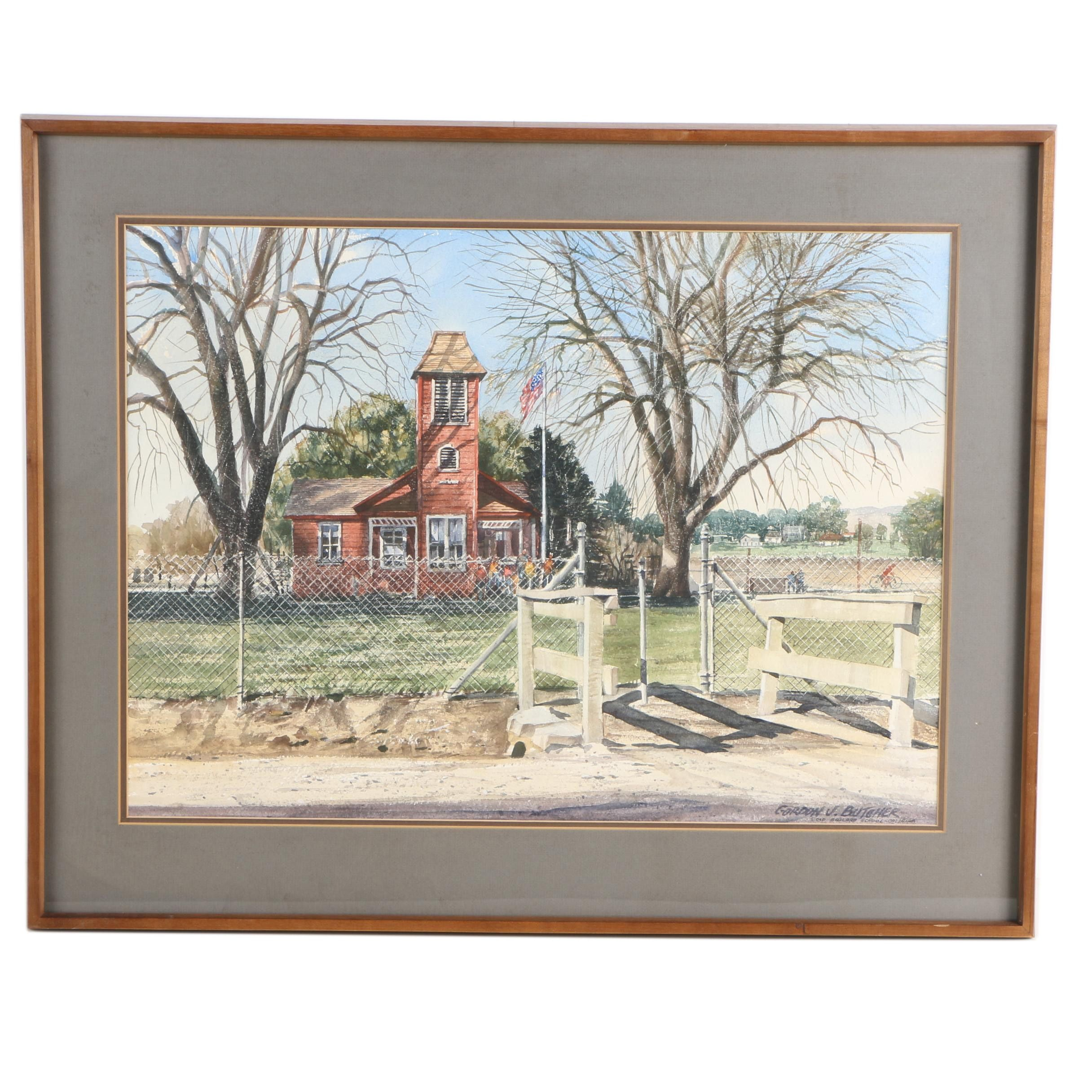 "Gordon V. Butcher Watercolor Painting ""Old Ballard School - California"""