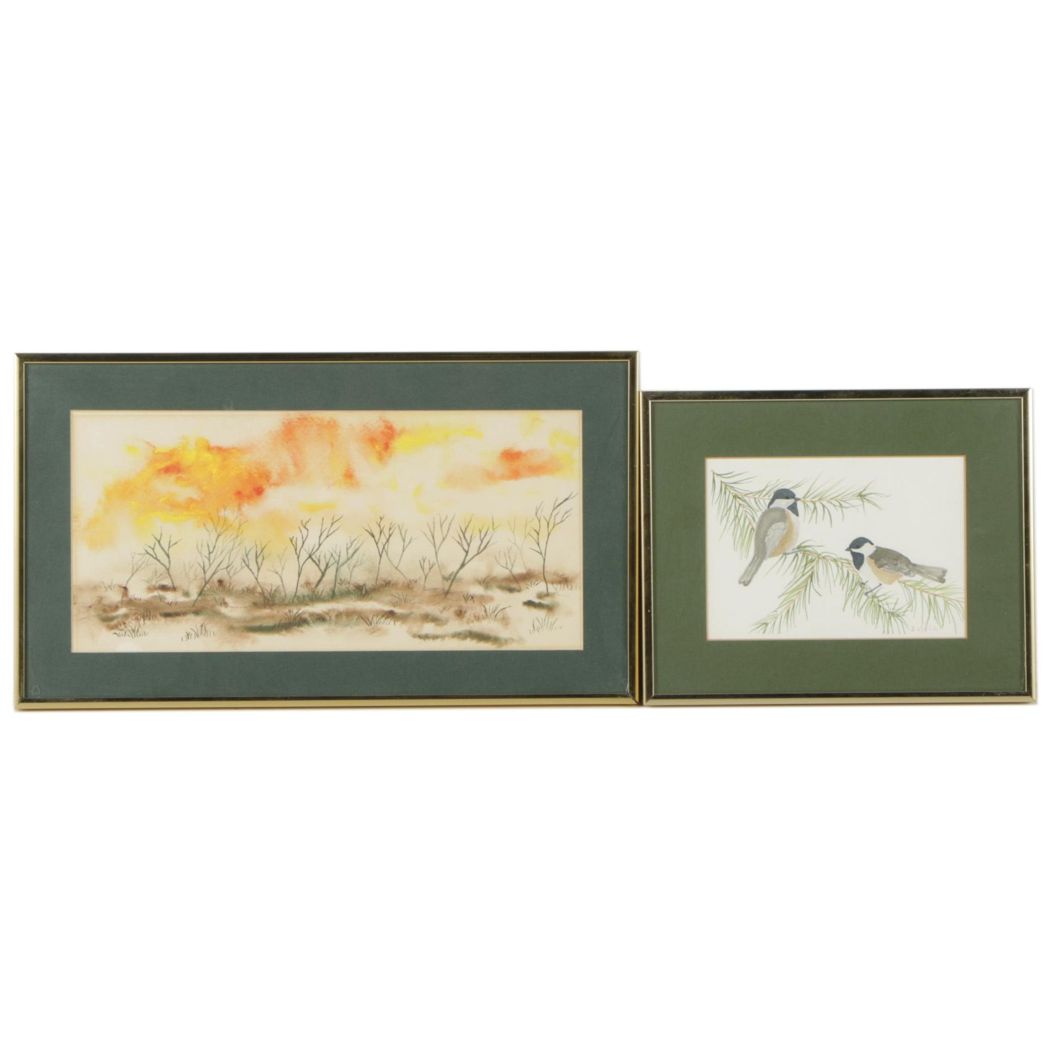 Watercolor Paintings of a Landscape and Birds Including Daunis Winkle