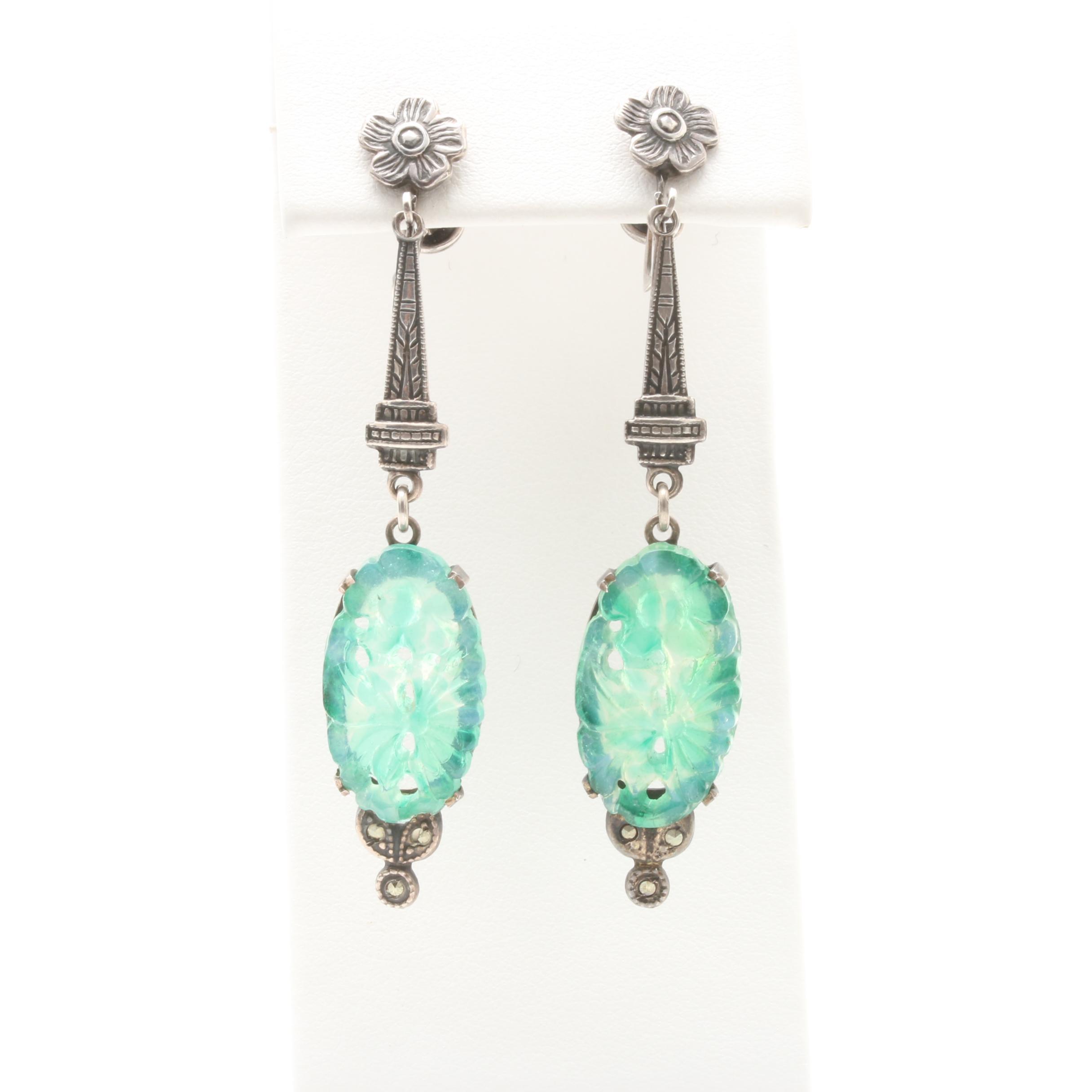 Art Deco Sterling Silver Glass Dangle Earrings