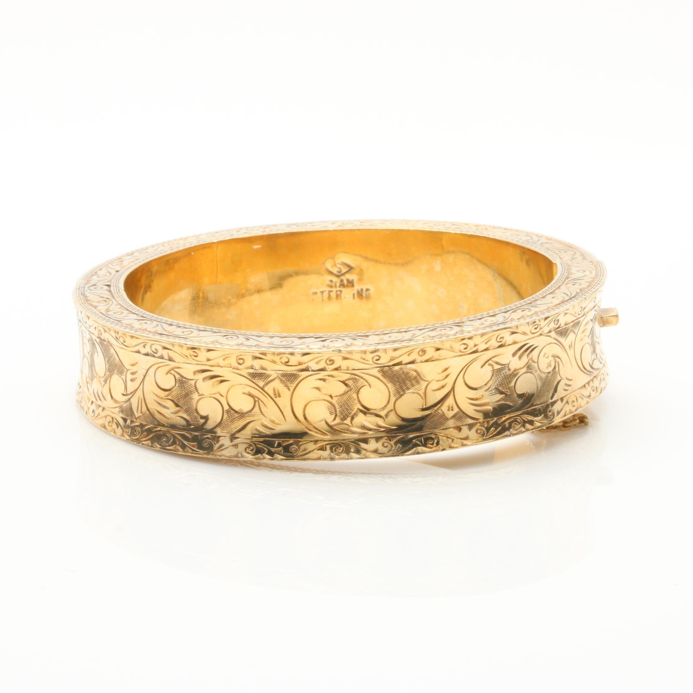 Vintage Thai Gold Wash on Sterling Silver Bangle Bracelet